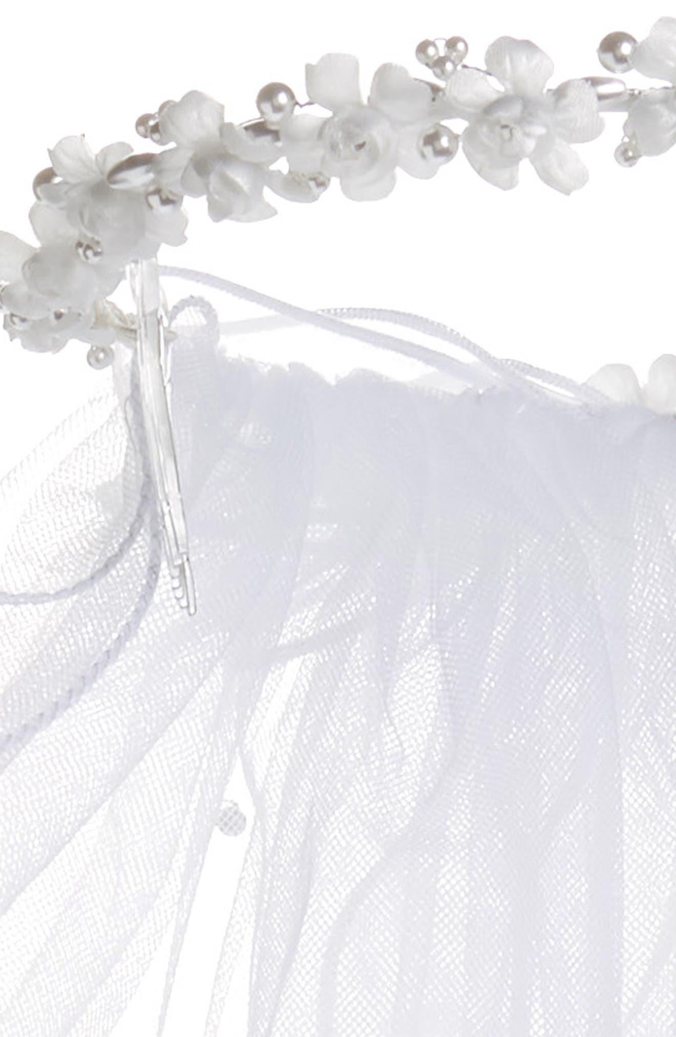 Flower & Pearl Wreath Veil,                             Alternate thumbnail 5, color,                             WHITE