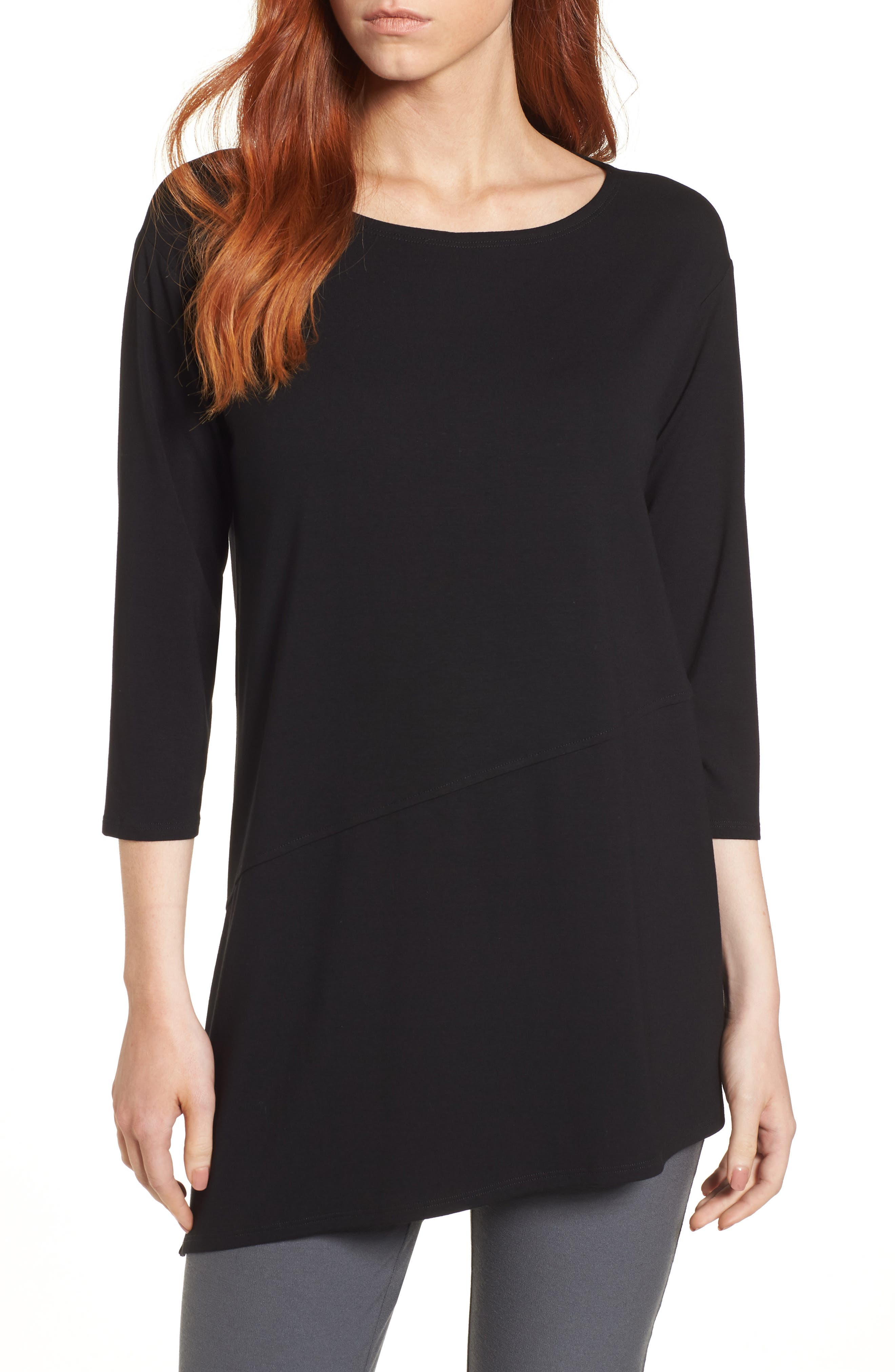 EILEEN FISHER Asymmetrical Jersey Top, Main, color, 001