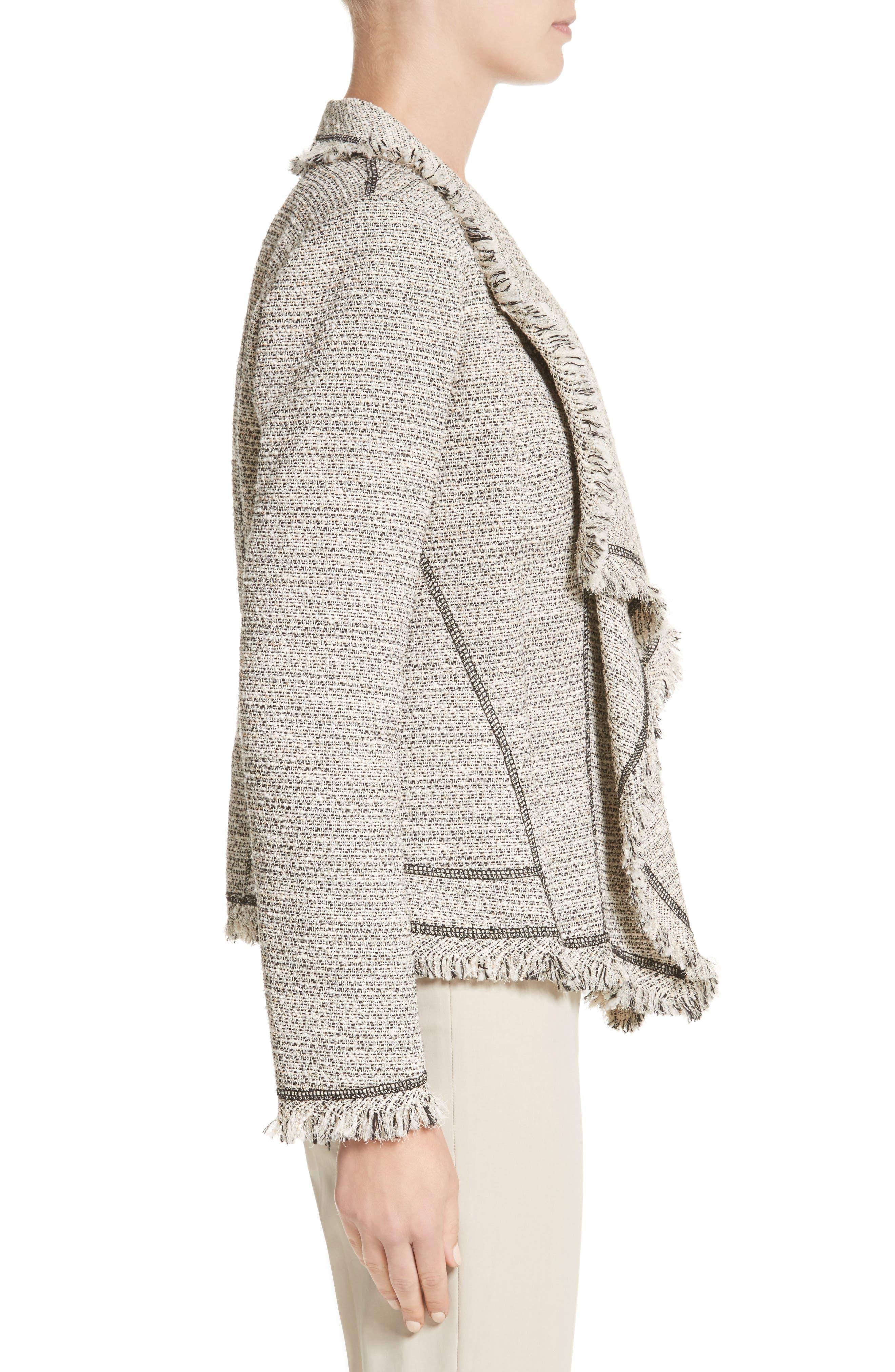 Eugena Drape Tweed Jacket,                             Alternate thumbnail 3, color,                             255