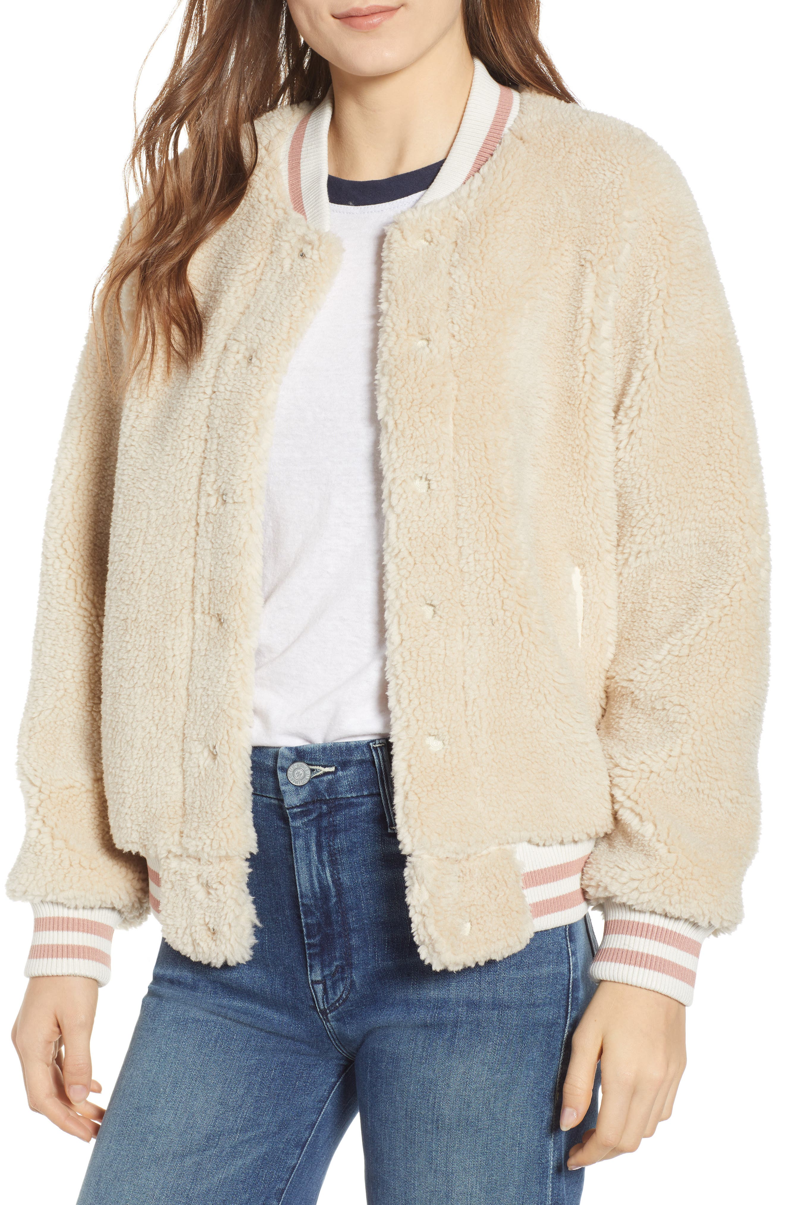 MOTHER The Snap Letterman Faux-Fur Bomber Jacket in Cream Delux Twill