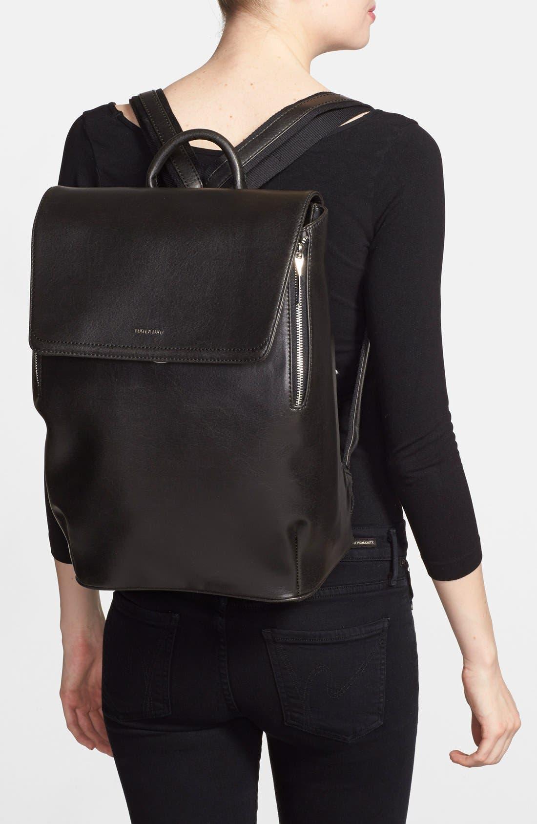 'Fabi' Faux Leather Laptop Backpack,                             Alternate thumbnail 3, color,                             BLACK