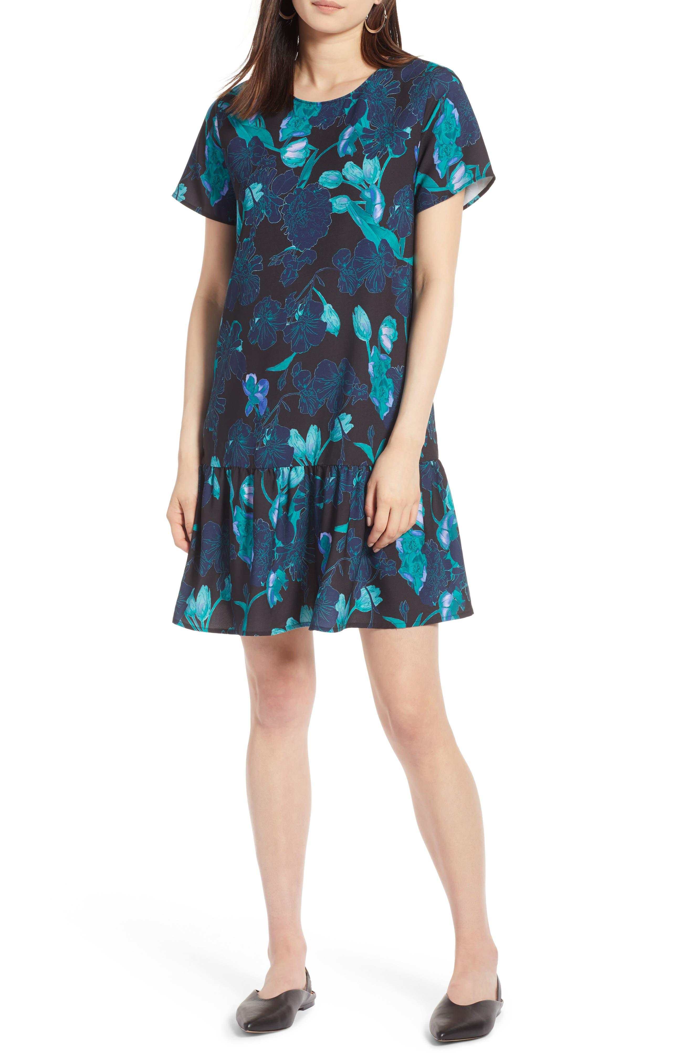 Short Sleeve Ruffle Hem Dress,                             Alternate thumbnail 27, color,