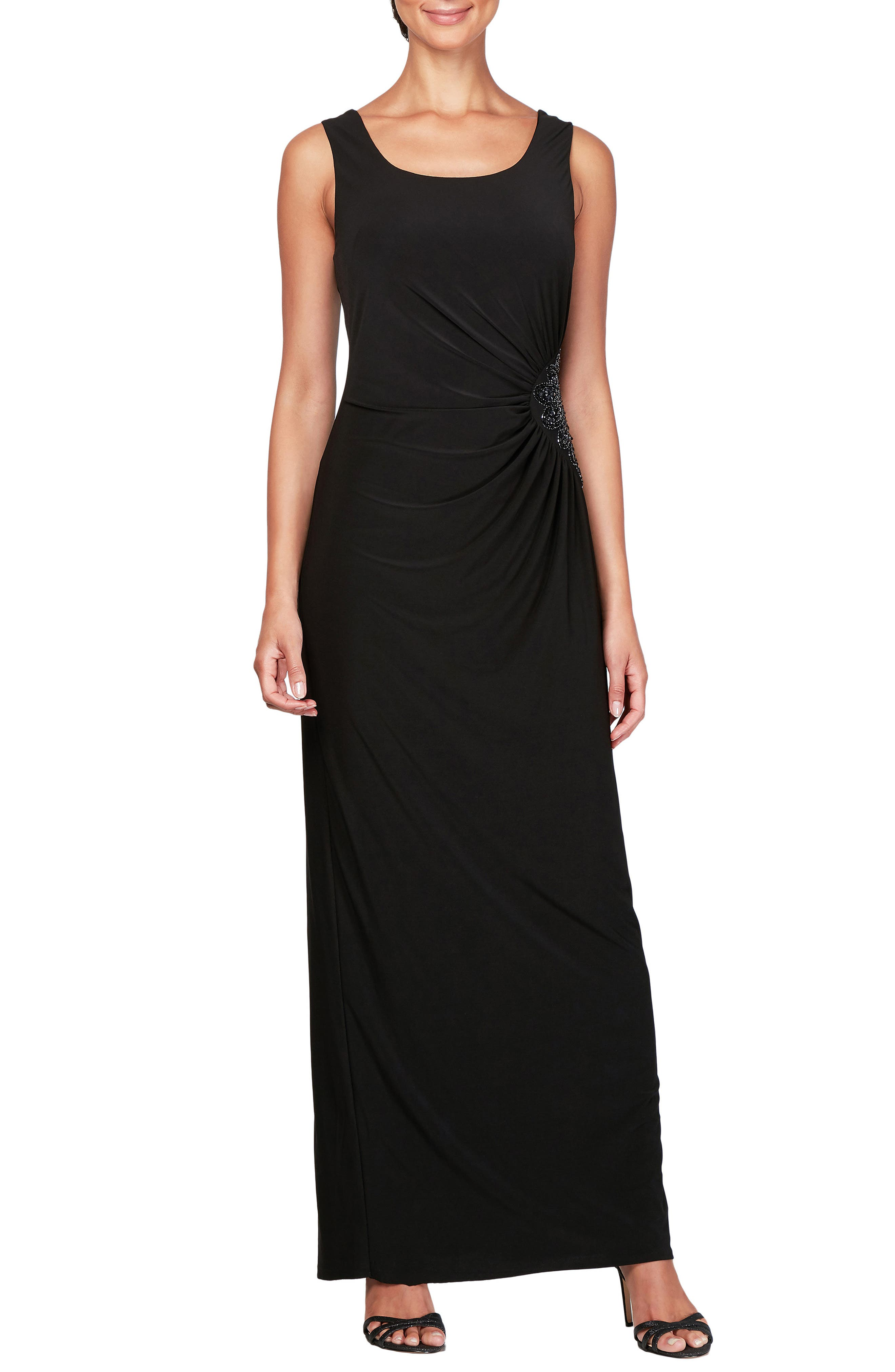 Alex Evenings Ruched Maxi Dress & Jacket, Black