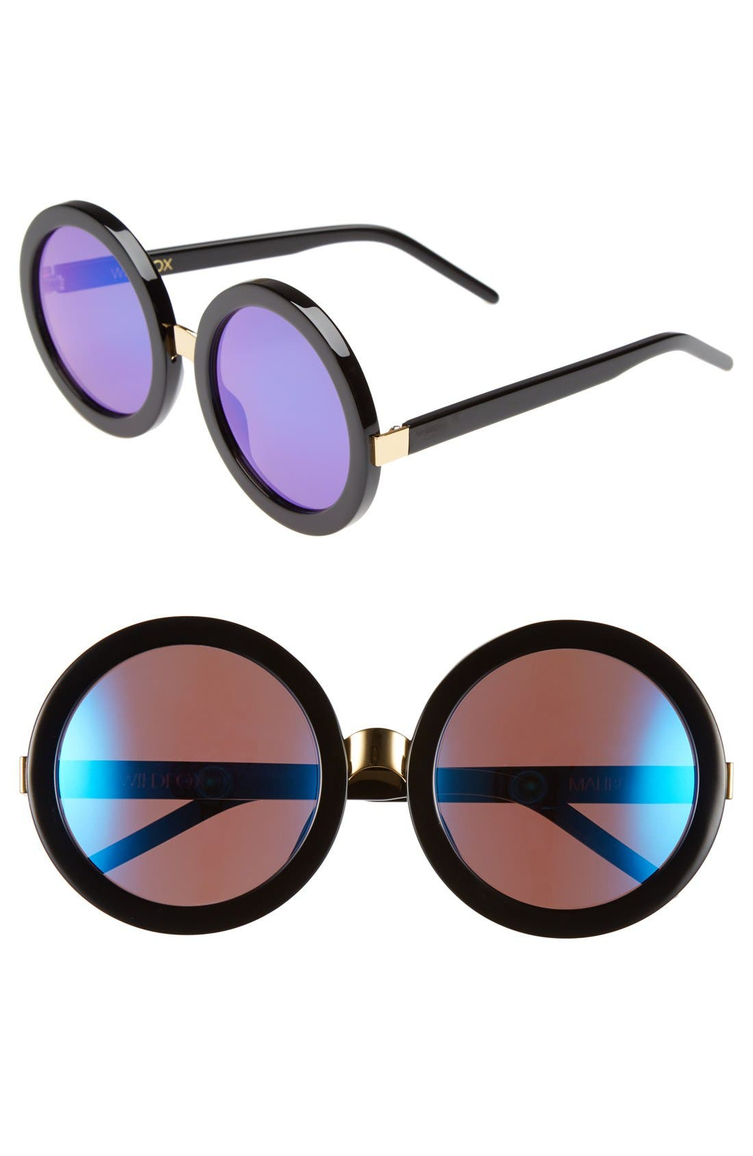 'Malibu Deluxe' 55mm Retro Sunglasses,                             Main thumbnail 1, color,                             BLACK