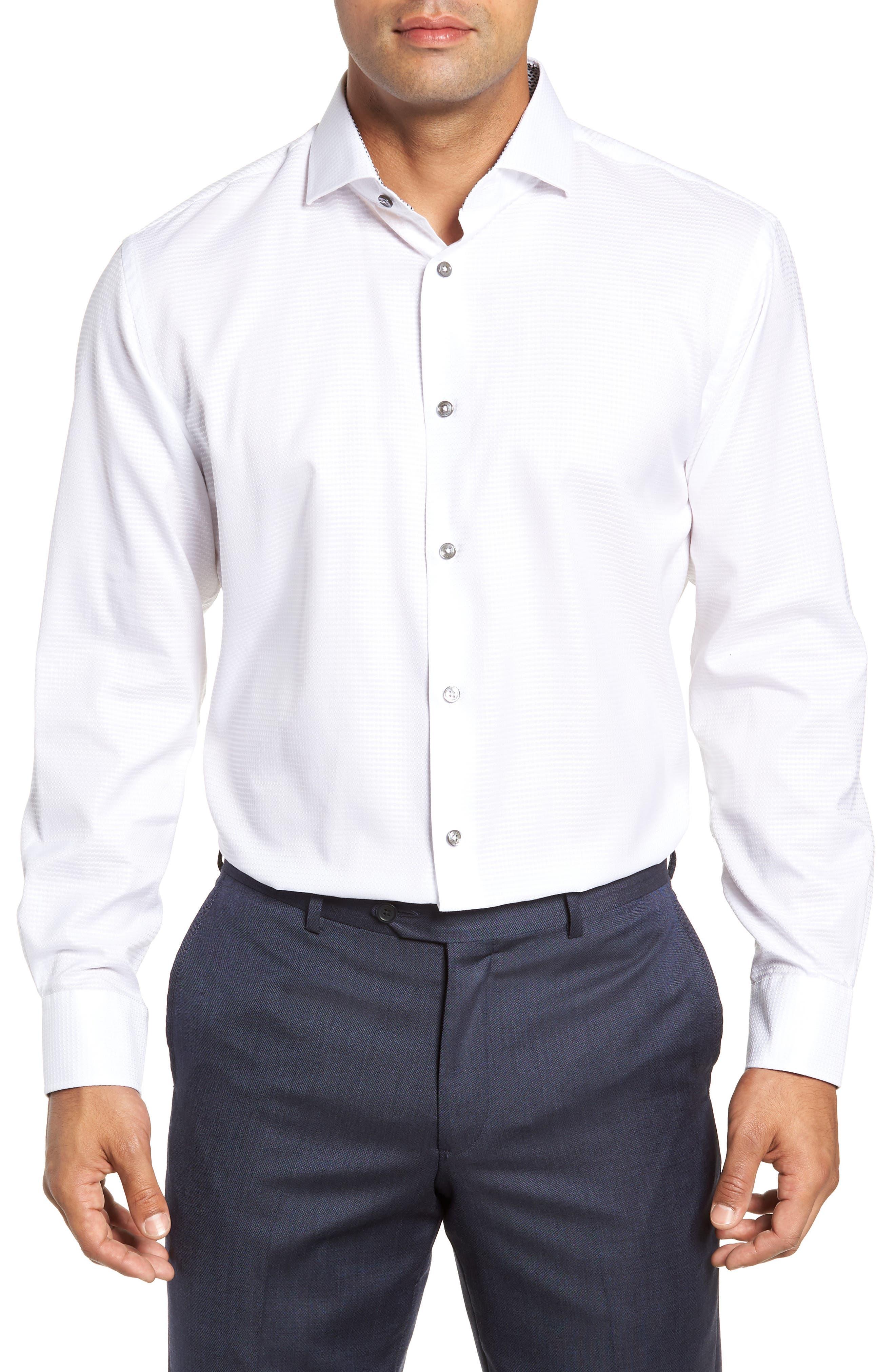 men's bugatchi trim fit solid dress shirt