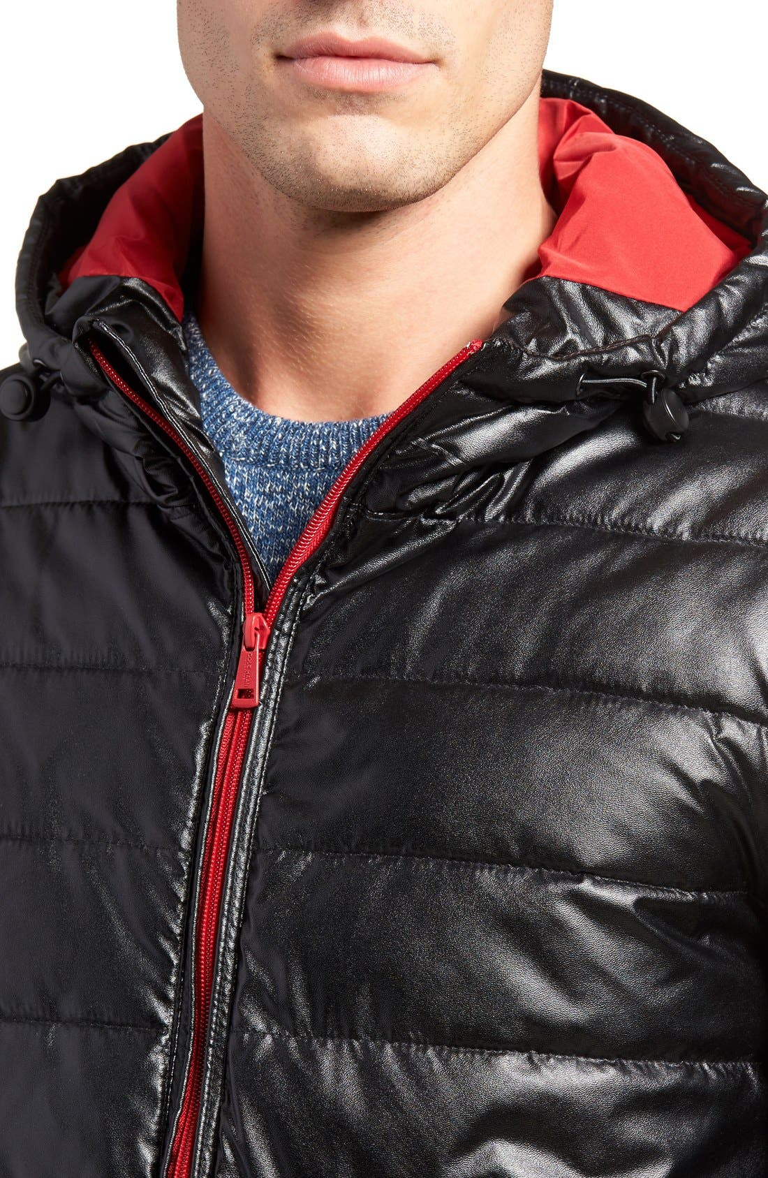 Quilted Faux Leather Hooded Puffer Jacket,                             Alternate thumbnail 4, color,                             BLACK/ RED