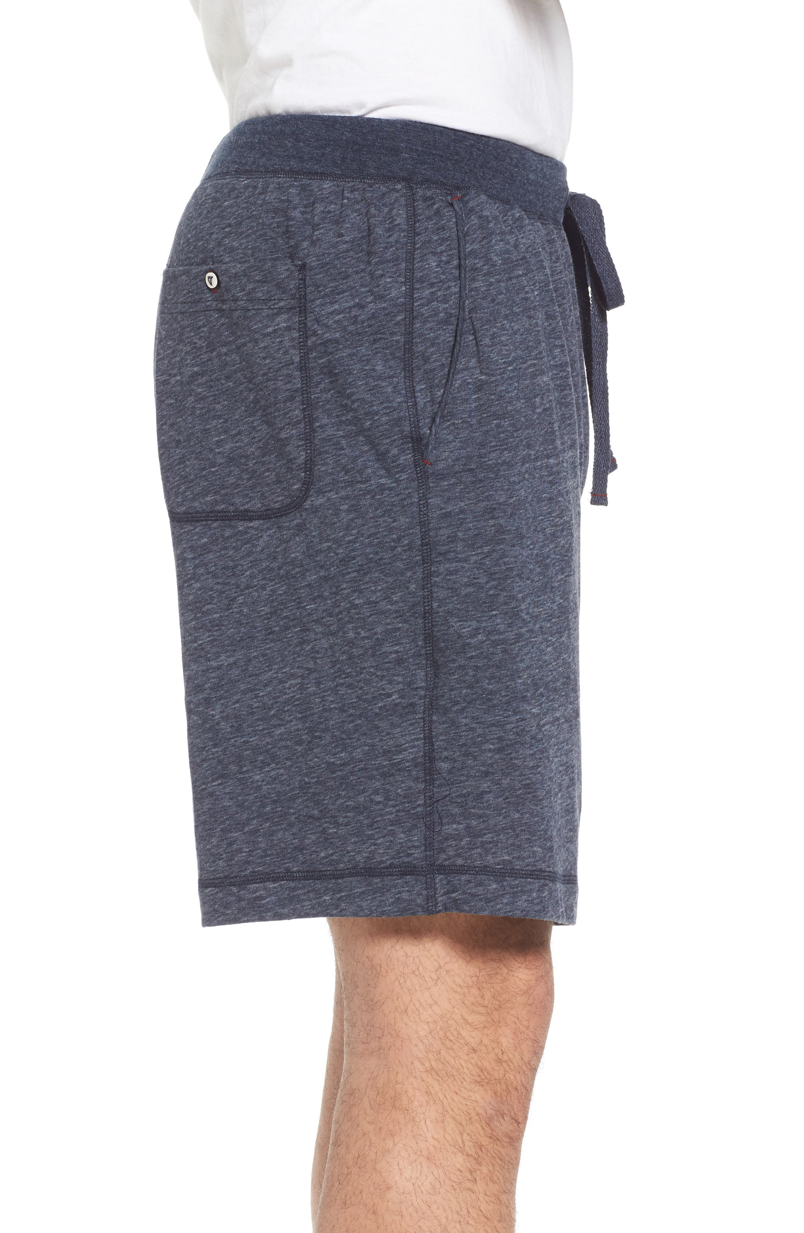 Recycled Cotton Blend Lounge Shorts,                             Alternate thumbnail 3, color,                             NAVY HEATHER