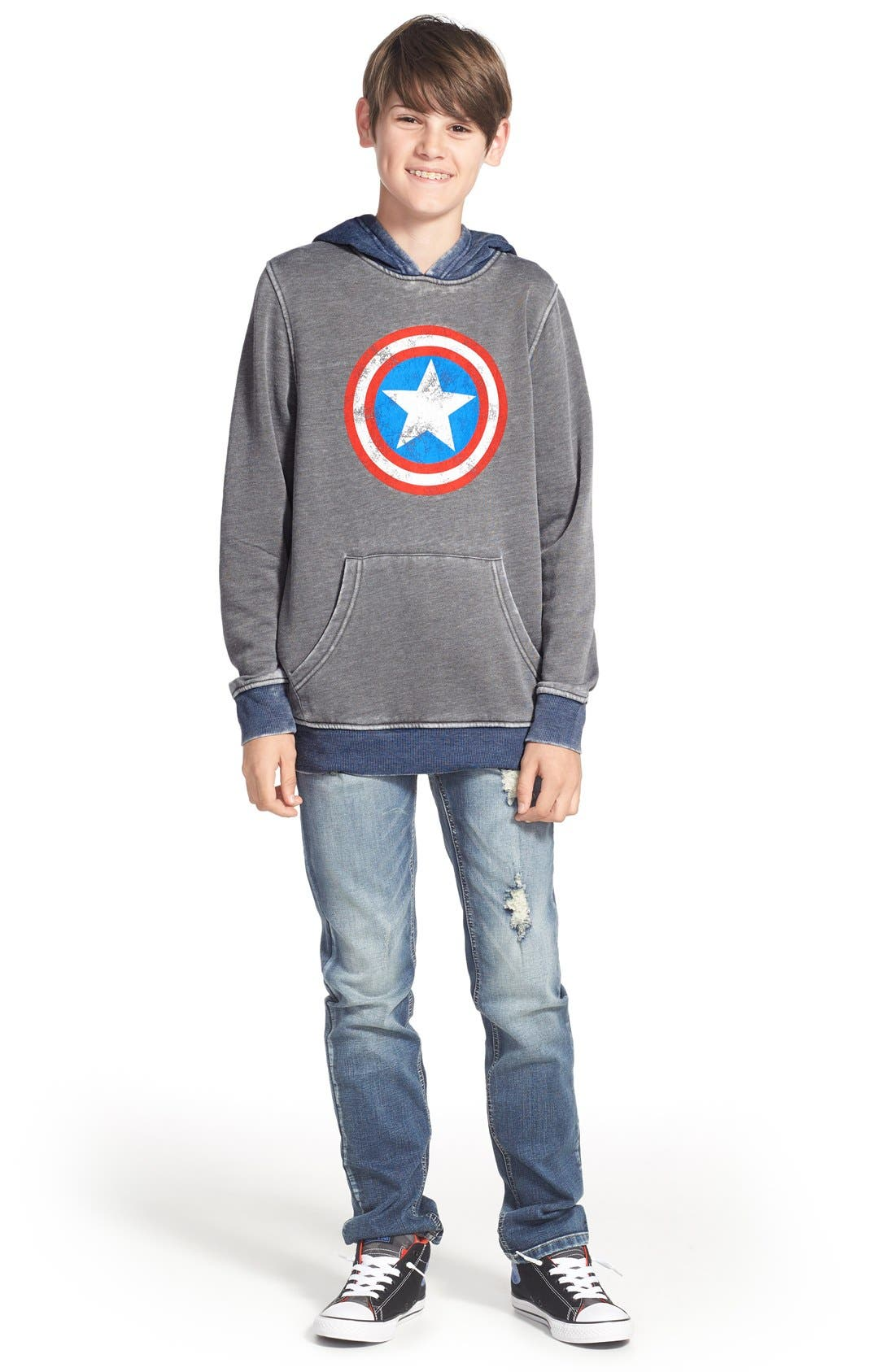 'Captain America - Star Shield' Graphic Hoodie,                             Alternate thumbnail 3, color,                             030
