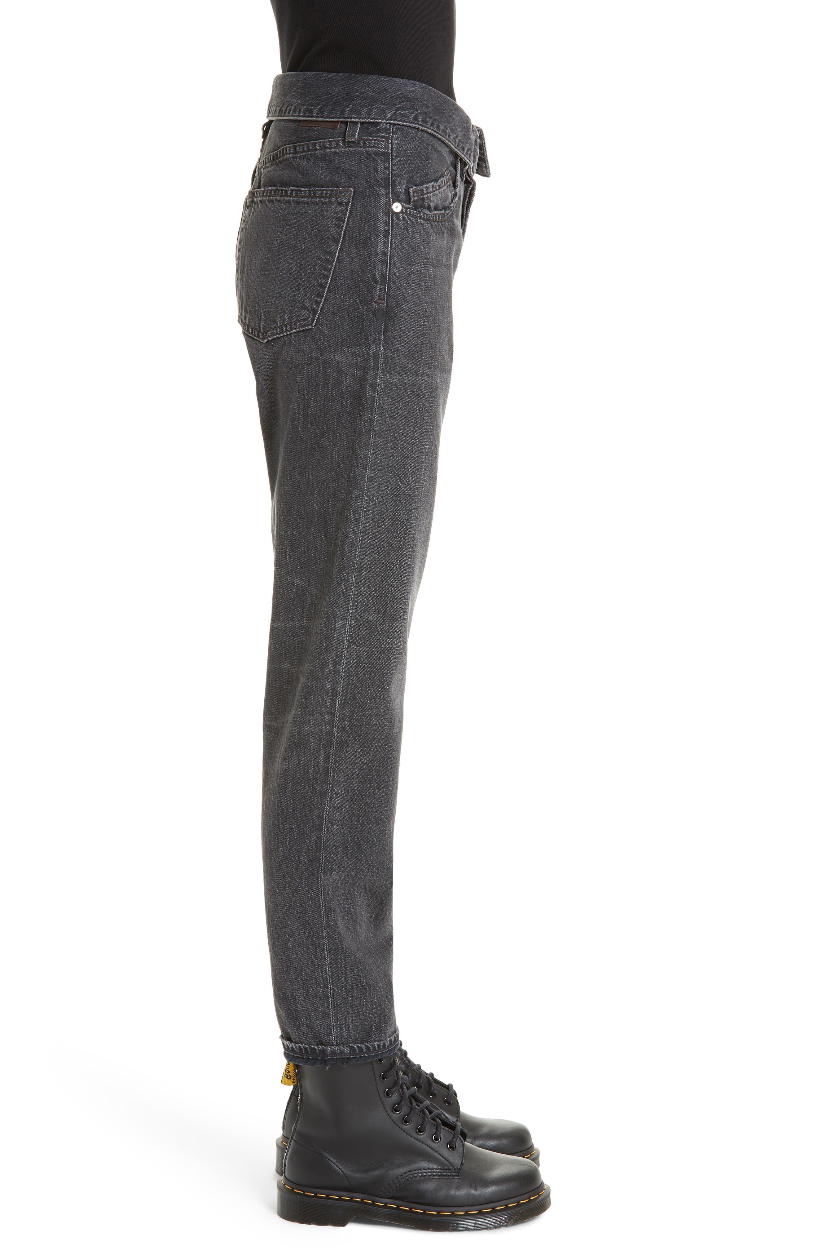 JEAN ATELIER,                             Flip Straight Leg Jeans,                             Alternate thumbnail 3, color,                             ONYX