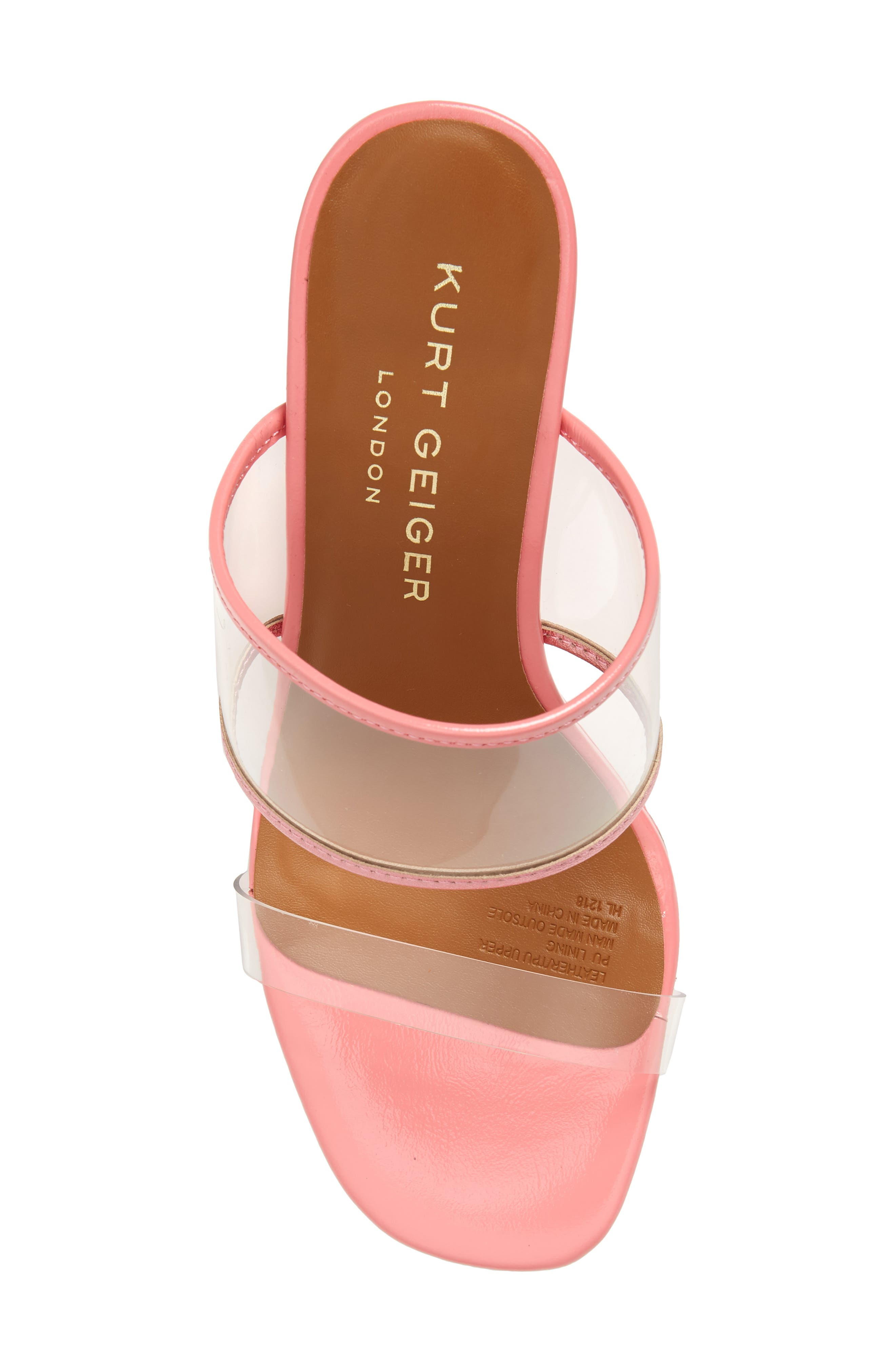 KURT GEIGER LONDON,                             Charing Wedge Slide Sandal,                             Alternate thumbnail 5, color,                             PINK FAUX LEATHER