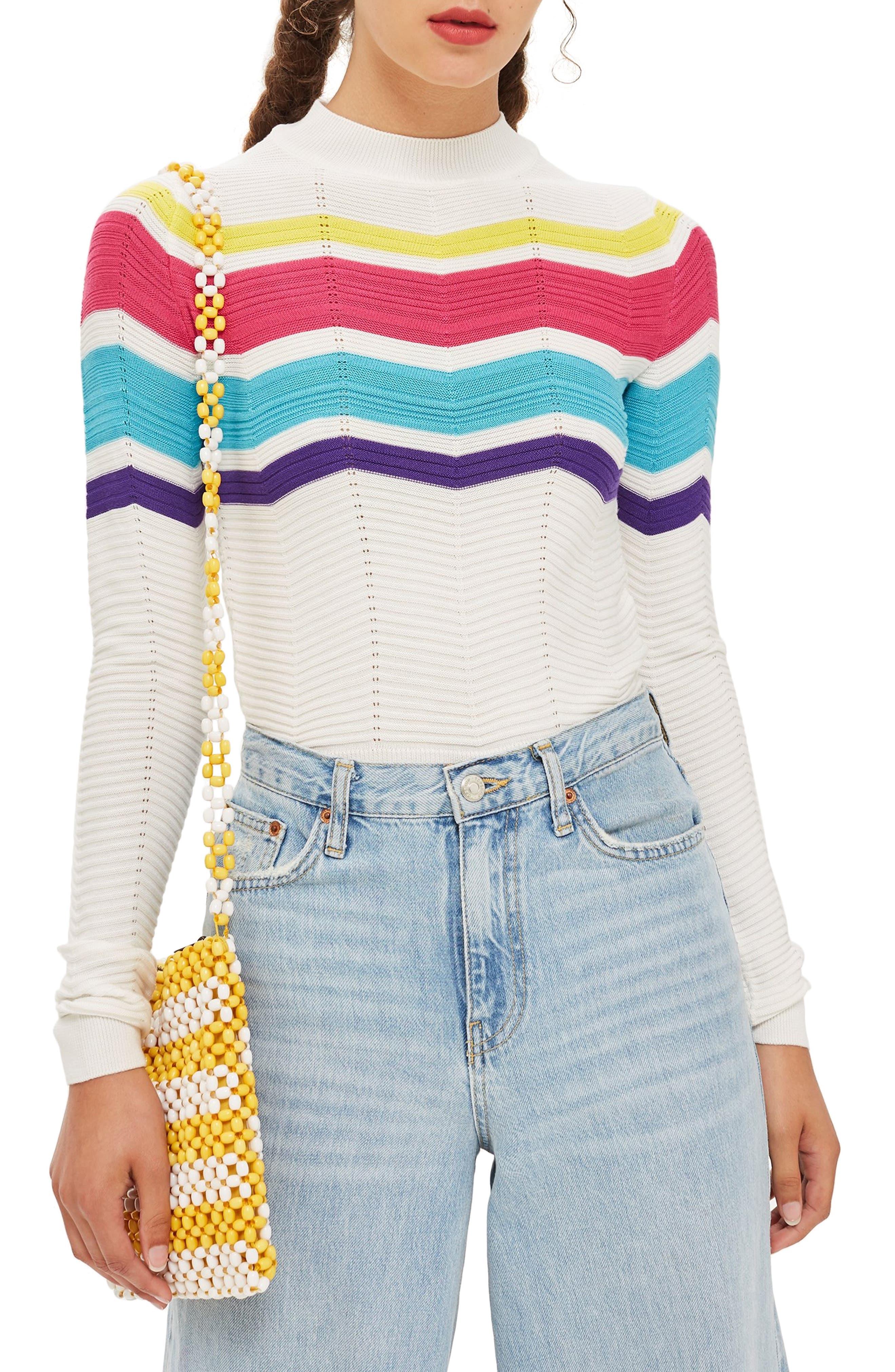 Chevron Stripe Crop Sweater,                             Main thumbnail 1, color,                             900