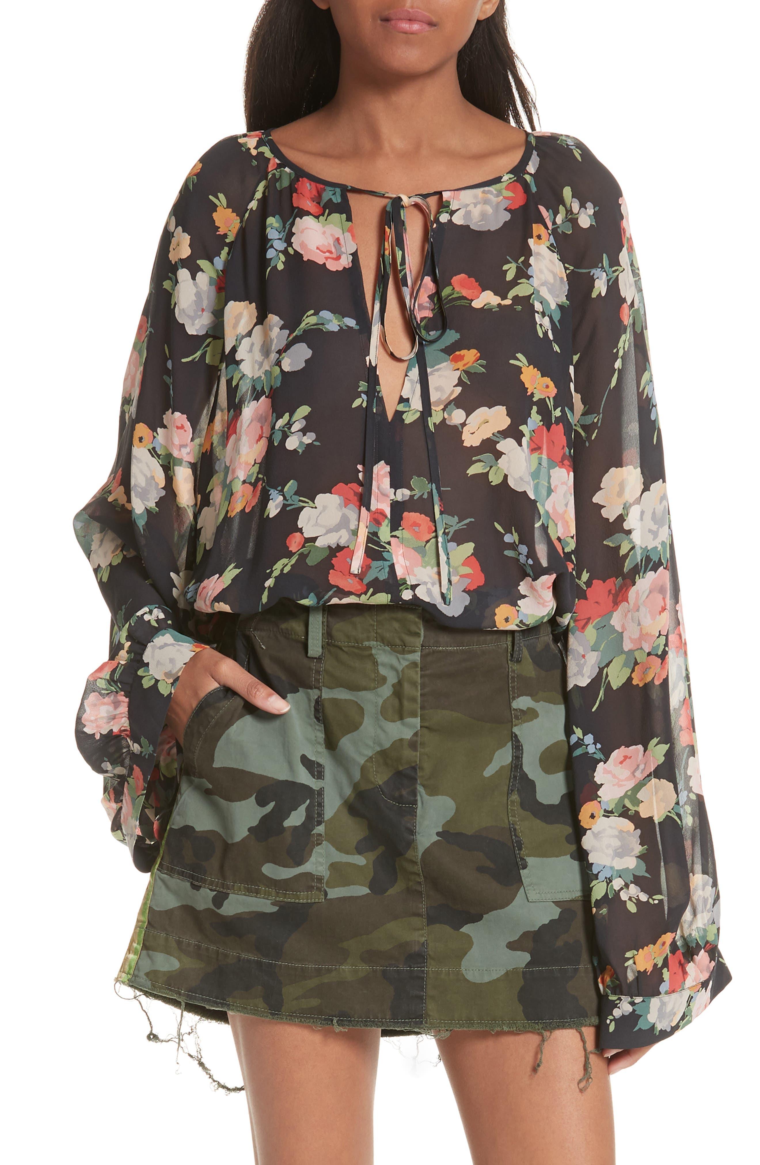 Acadia Print Silk Blouse,                         Main,                         color, FLORAL PRINT