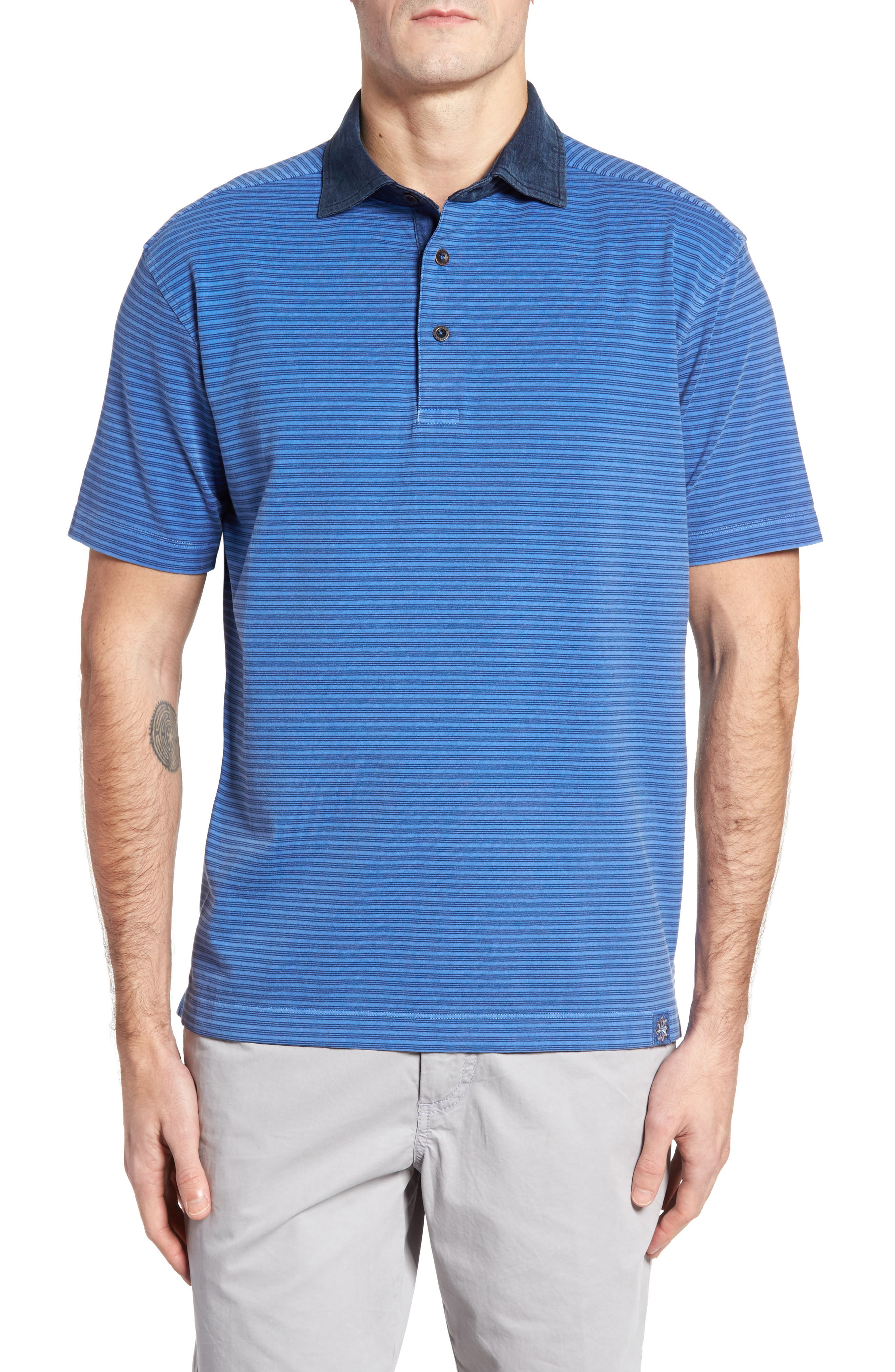Ivan Stripe Stretch Jersey Polo,                             Main thumbnail 1, color,                             436