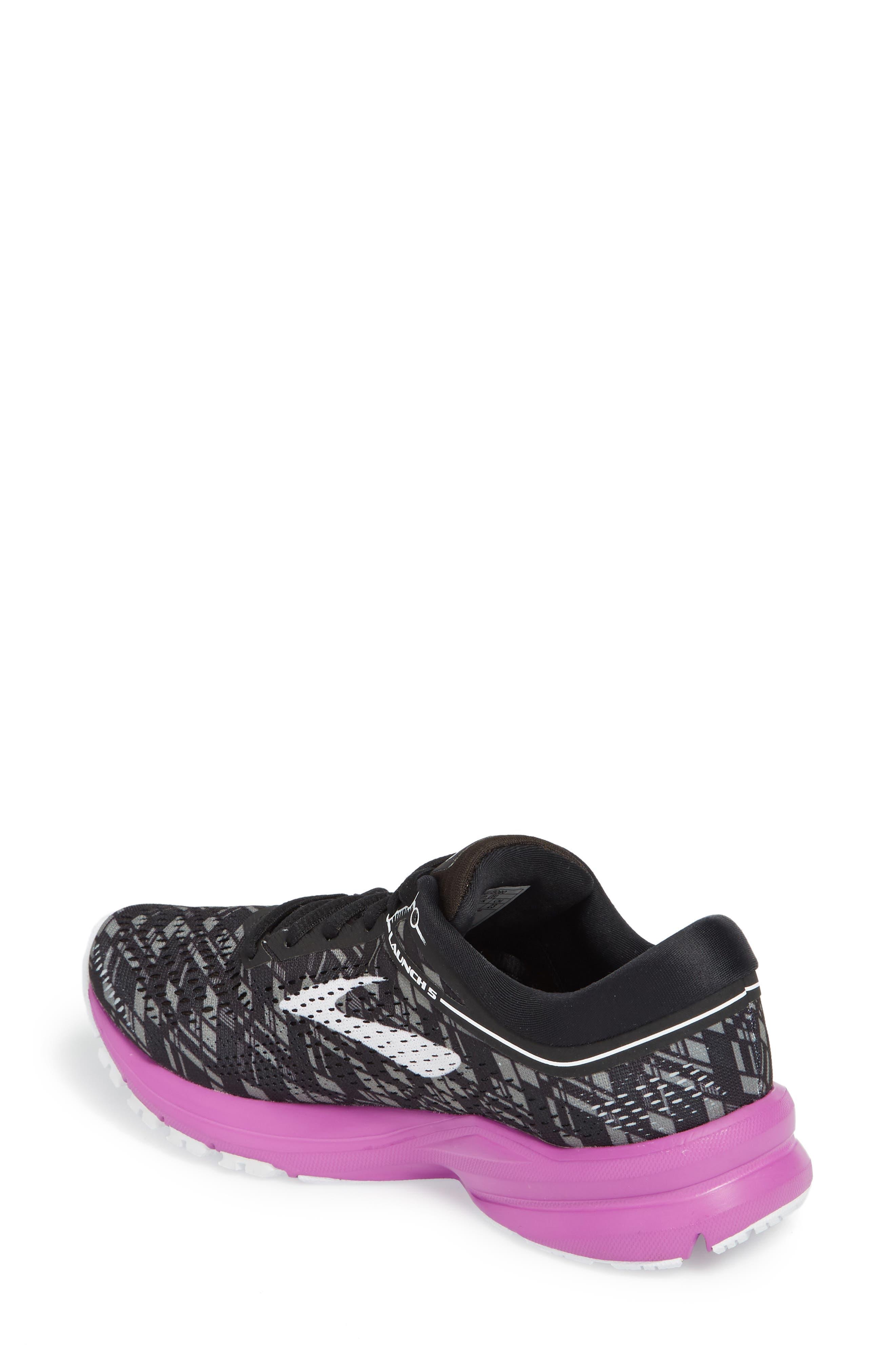 Launch 5 Running Shoe,                             Alternate thumbnail 2, color,                             BLACK/ PURPLE/ PRINT