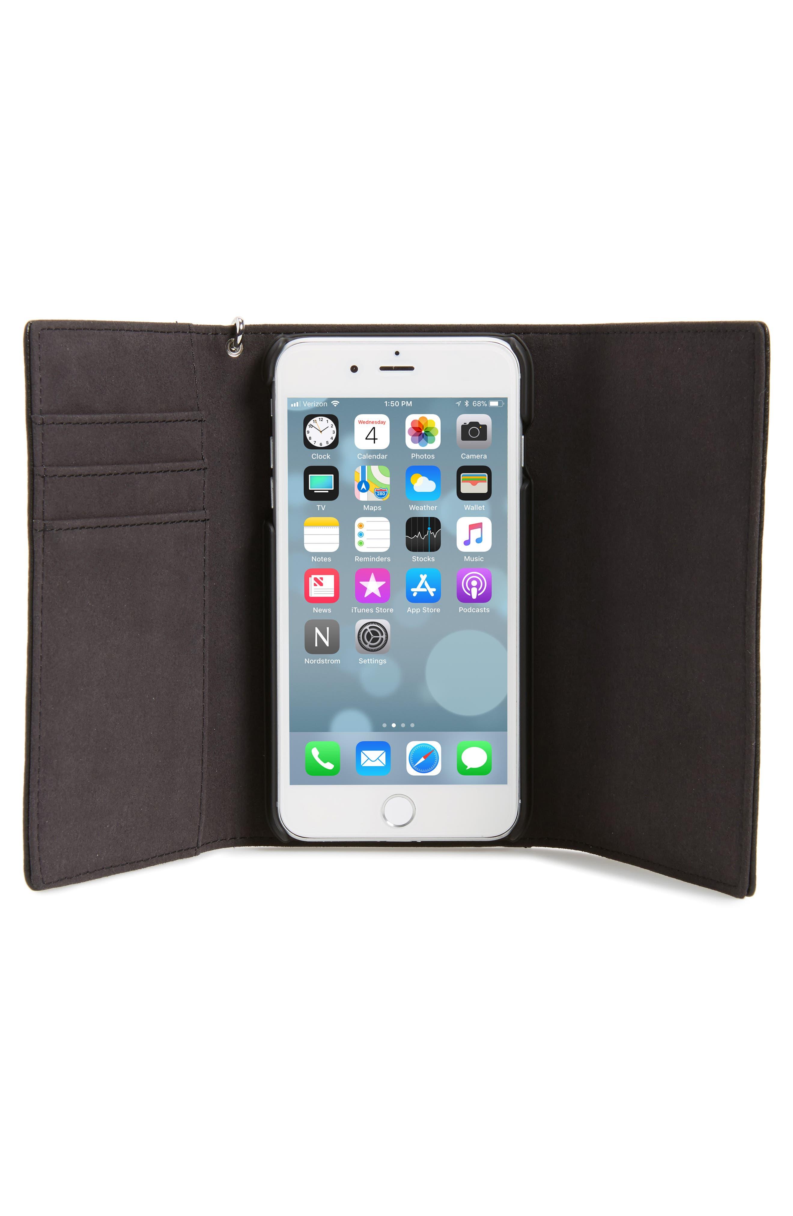 REBECCA MINKOFF,                             Love Lock iPhone 7/8 & 7/8 Plus Leather Wristlet Folio,                             Alternate thumbnail 4, color,                             001