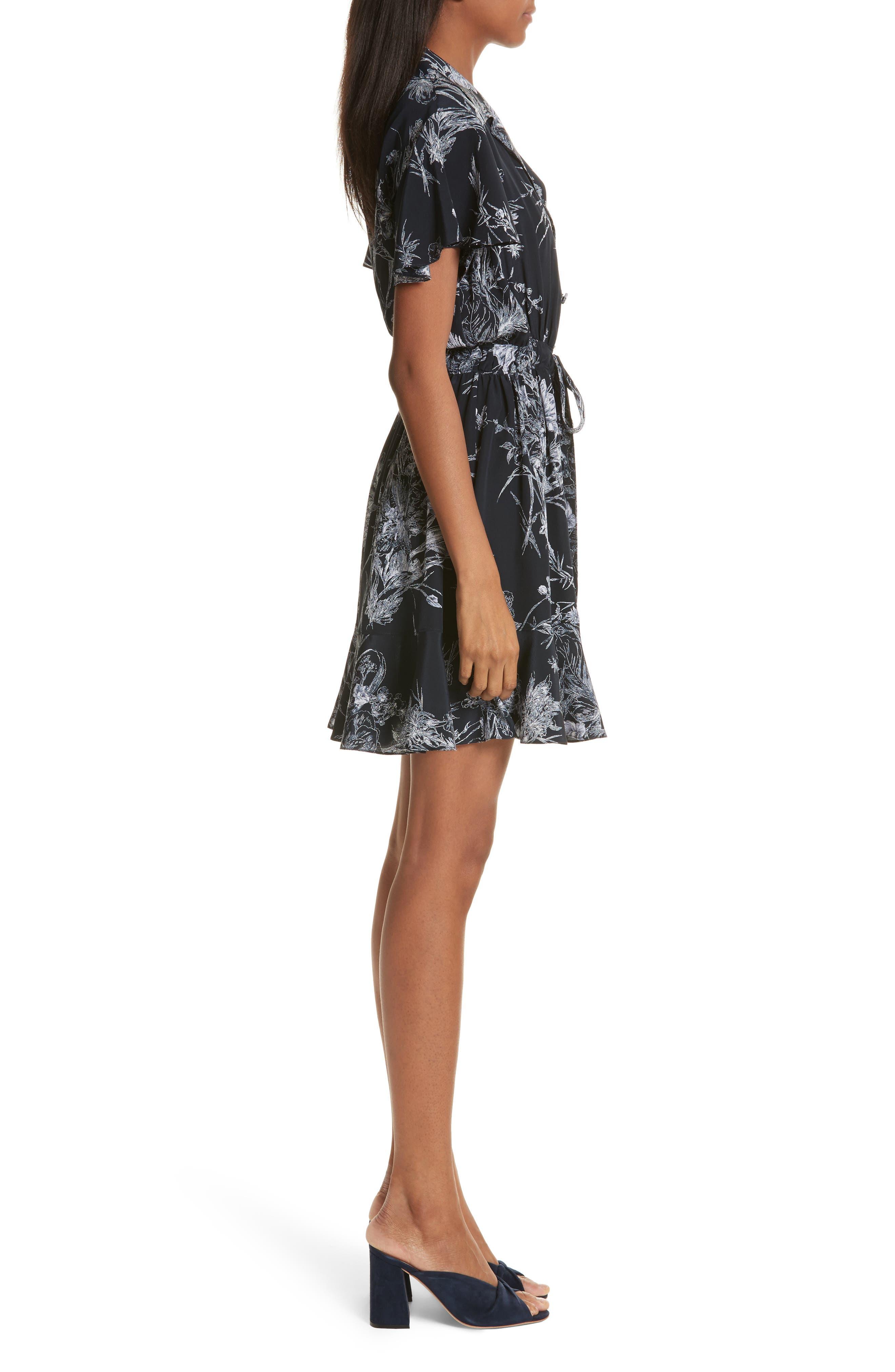 Quincy Flutter Trim Silk Dress,                             Alternate thumbnail 3, color,                             418