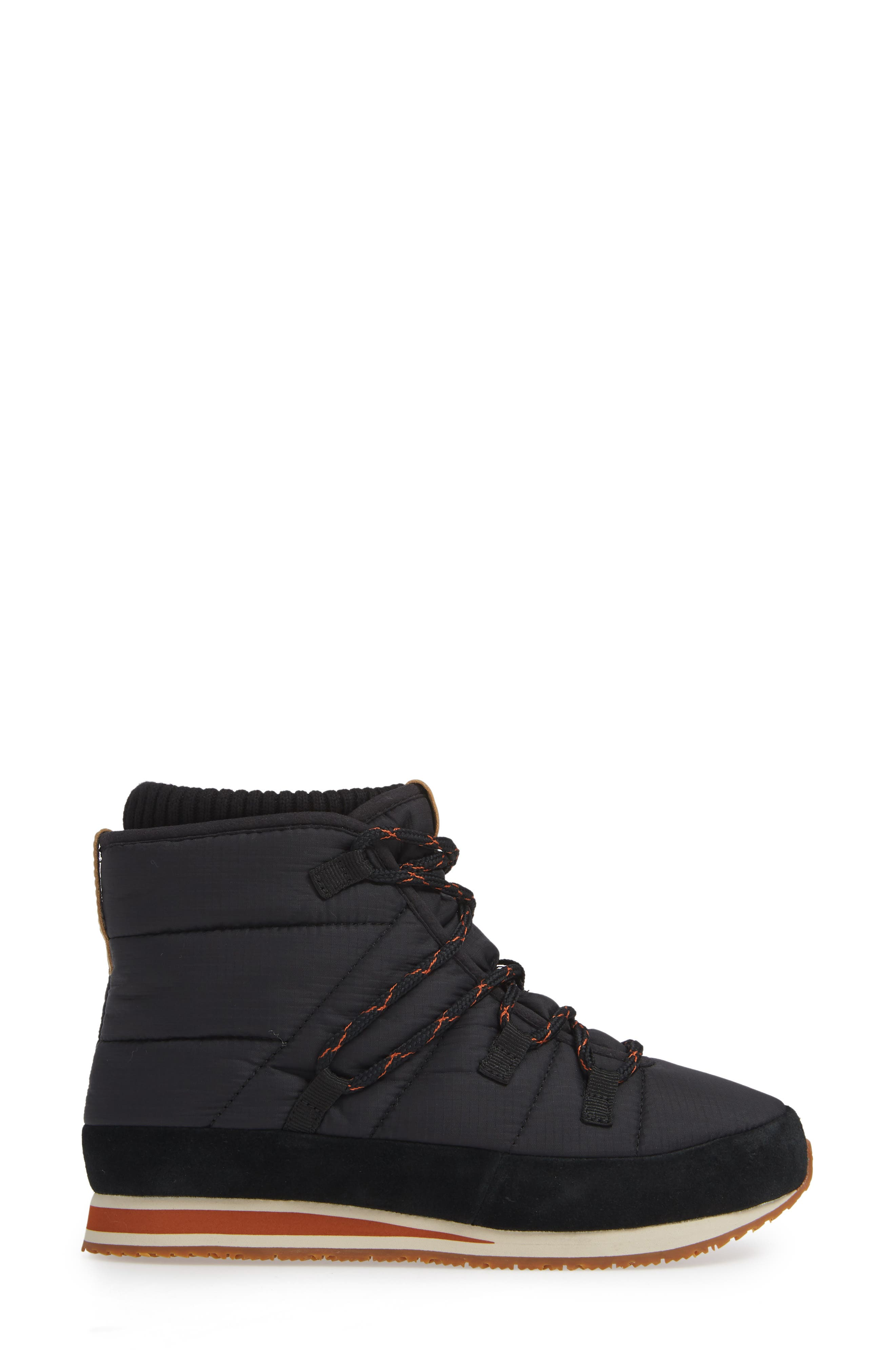 Ember Lace-Up Winter Bootie,                             Alternate thumbnail 3, color,                             BLACK FABRIC