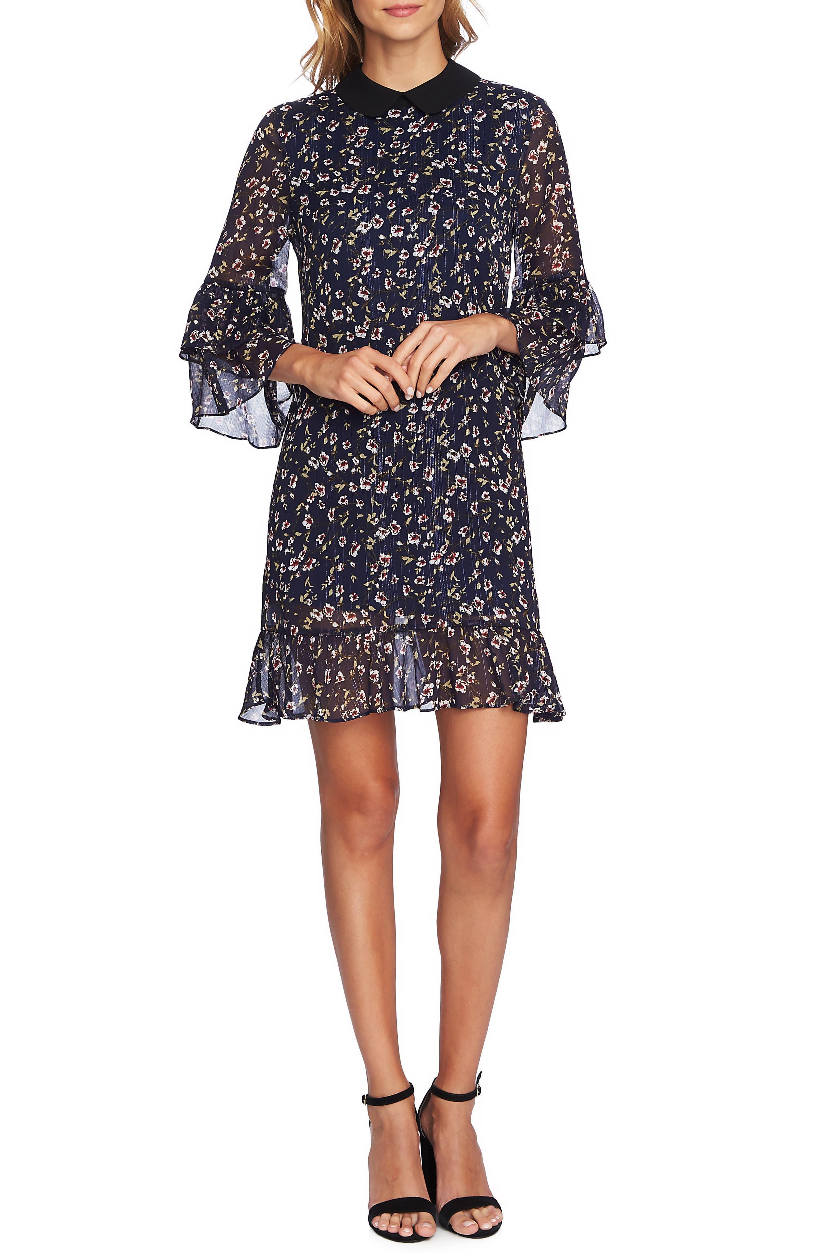 Festive Metallic Stripe Floral Ruffle Dress,                         Main,                         color, MIDNIGHT BLOOM