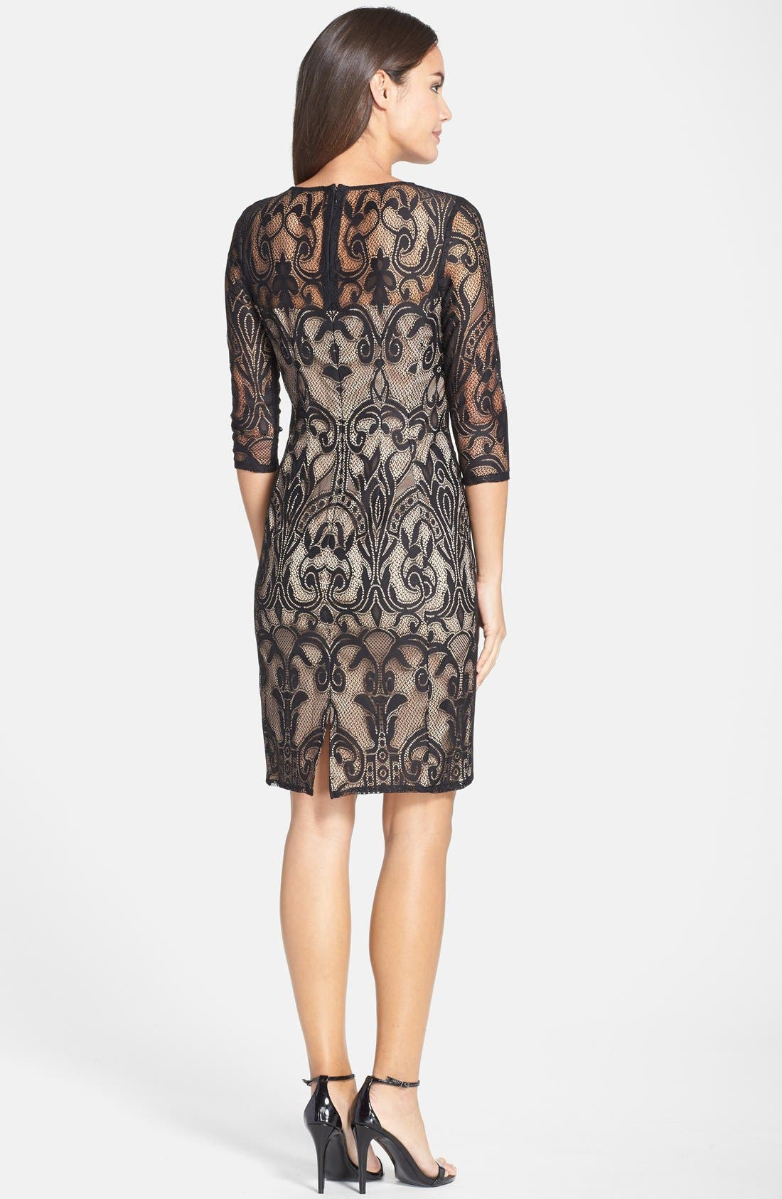 Lace Sheath Dress,                             Alternate thumbnail 6, color,                             001