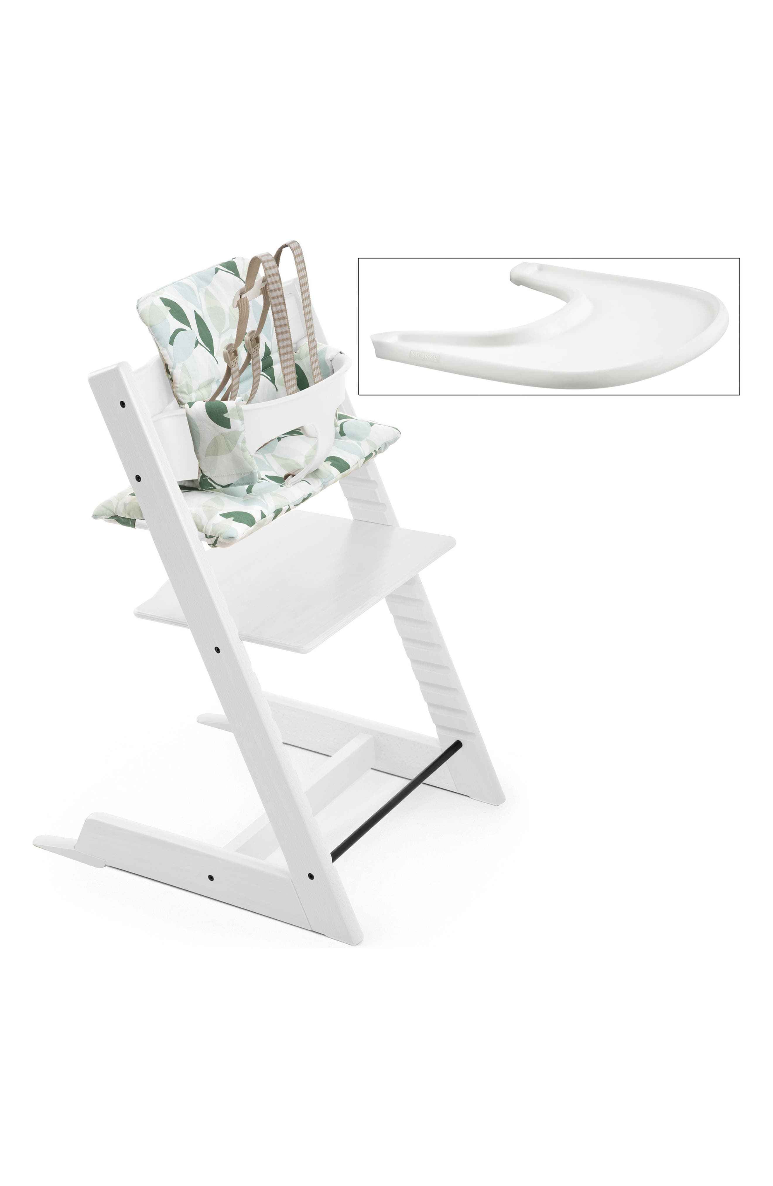 'Tripp Trapp<sup>®</sup>' Chair, Baby Set, Cushion & Tray Set,                             Alternate thumbnail 2, color,                             WHITE WITH FOREST GREEN