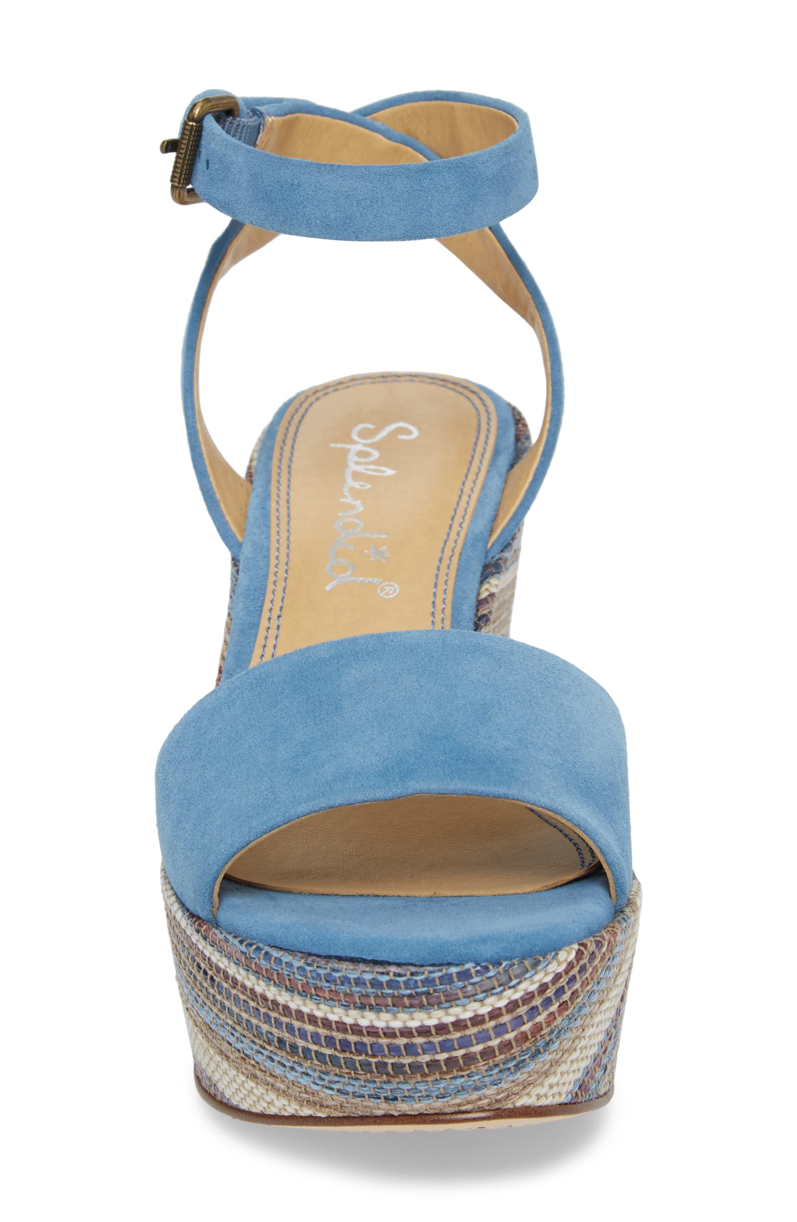 Felix Platform Wedge Sandal,                             Alternate thumbnail 4, color,                             BLUE HORIZON SUEDE