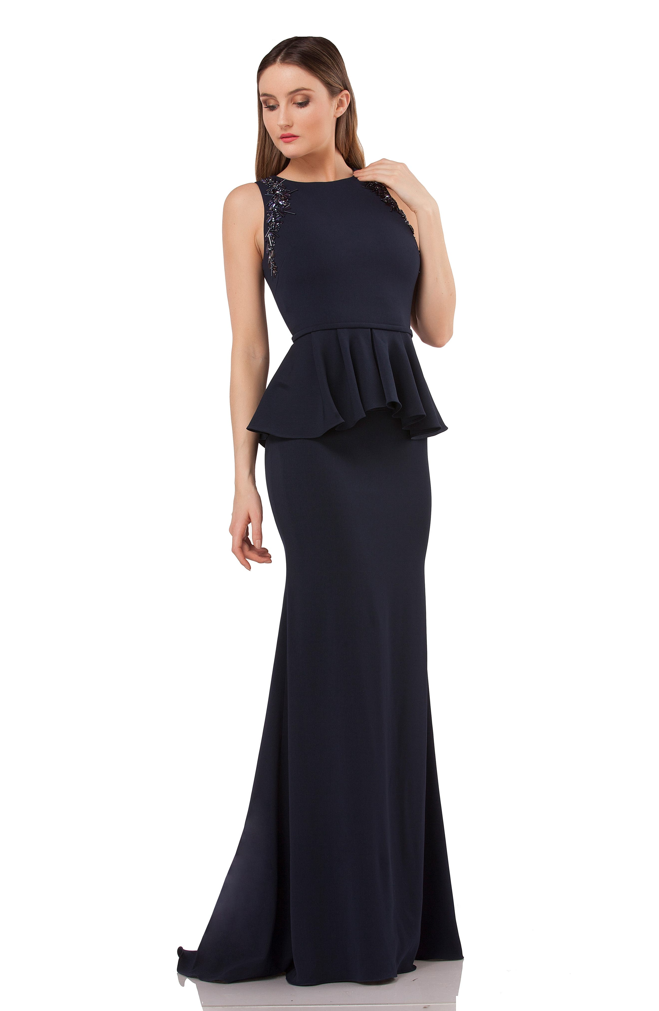 Embellished Peplum Waist Crepe Gown,                             Alternate thumbnail 6, color,                             MIDNIGHT