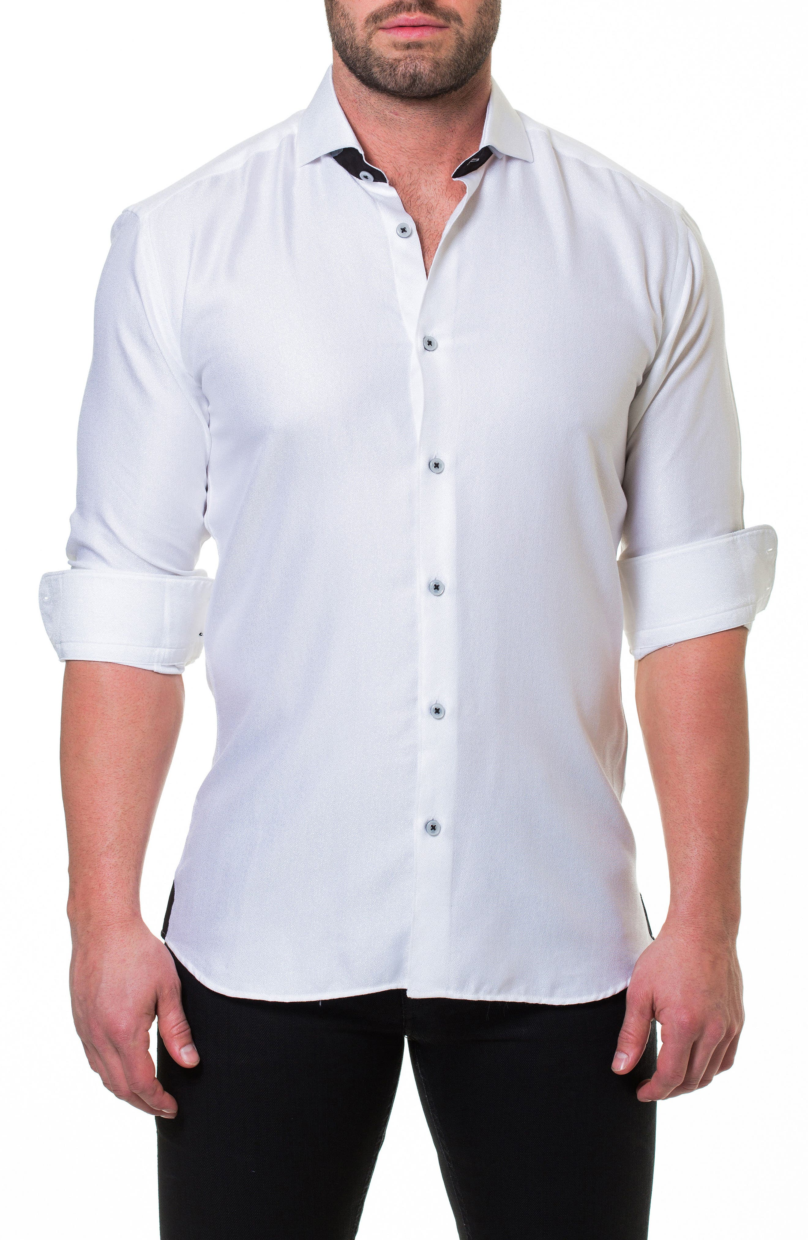 MACEOO,                             Wall Street Serenity White Slim Fit Sport Shirt,                             Alternate thumbnail 4, color,                             110