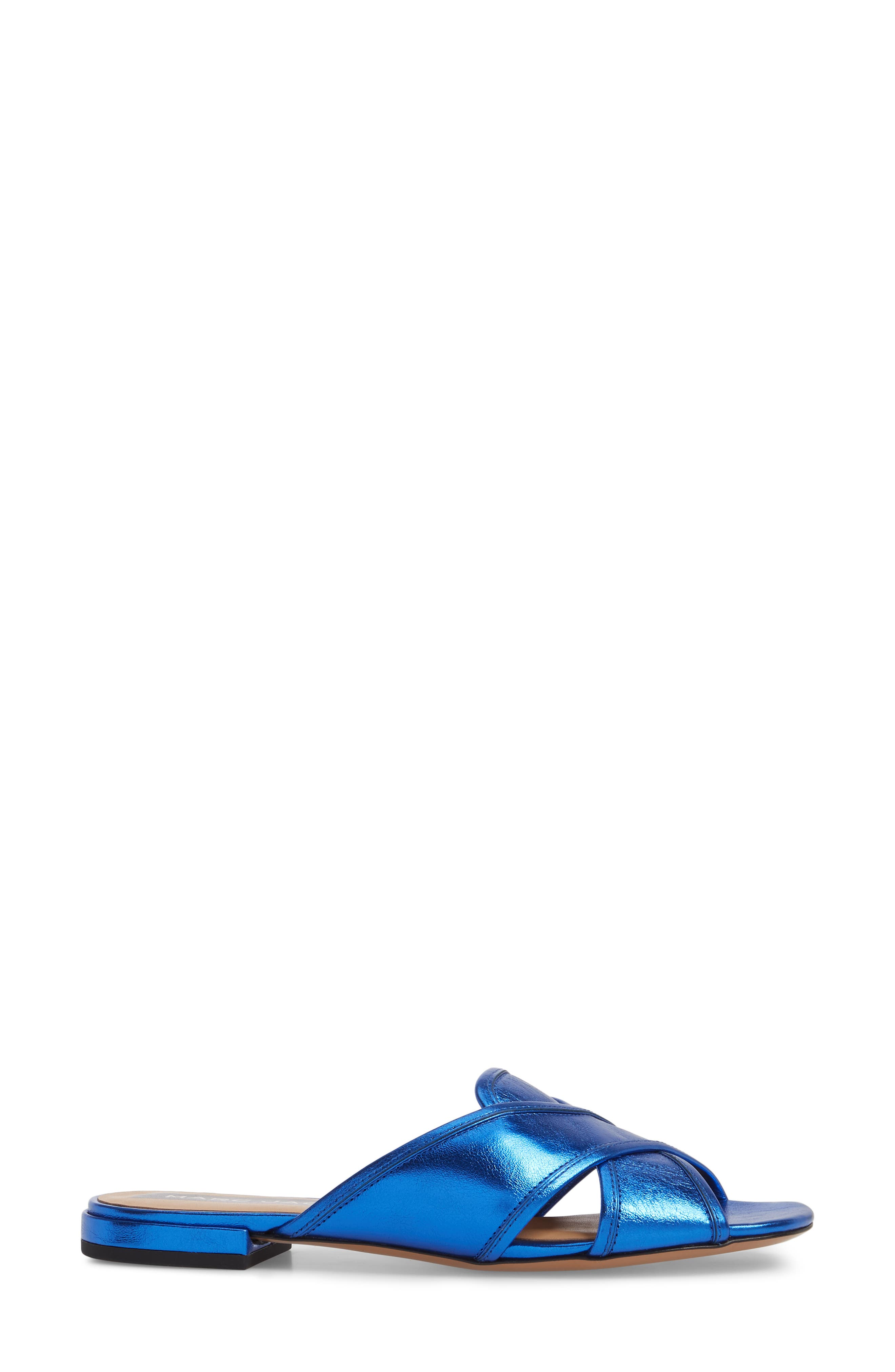 Aurora Metallic Slide Sandal,                             Alternate thumbnail 3, color,                             BLUE