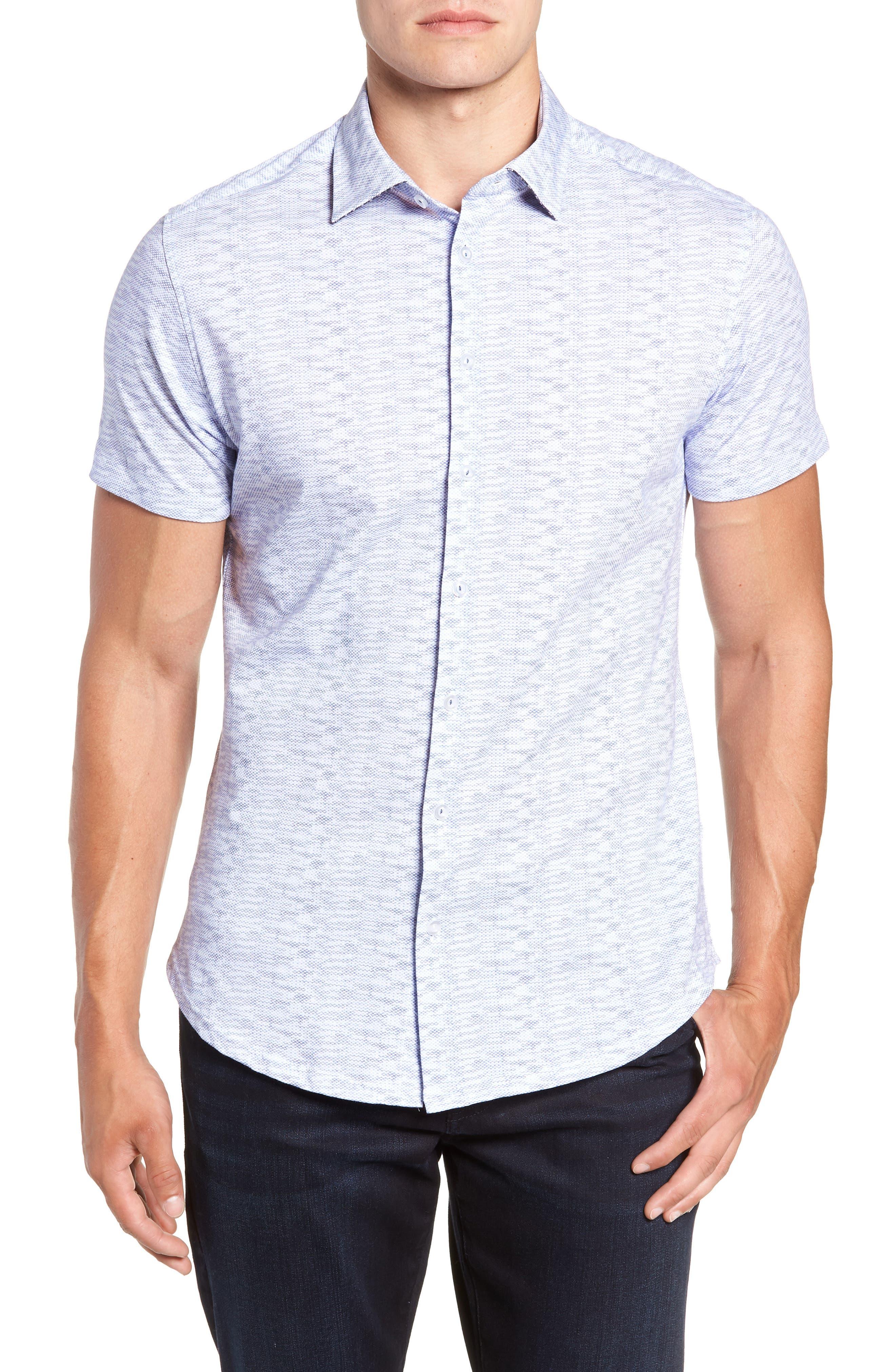 Heather Regular Fit Knit Sport Shirt,                         Main,                         color, 400