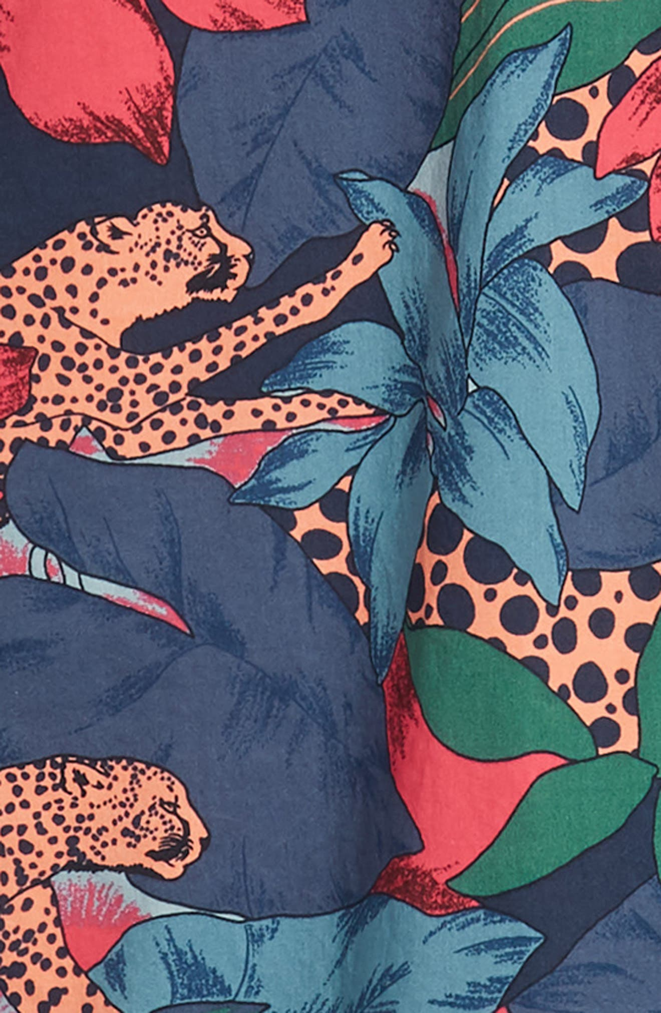Riviera Slim Fit Leopard Floral Sport Shirt,                             Alternate thumbnail 6, color,                             WILD CATS - PEACH TWIG