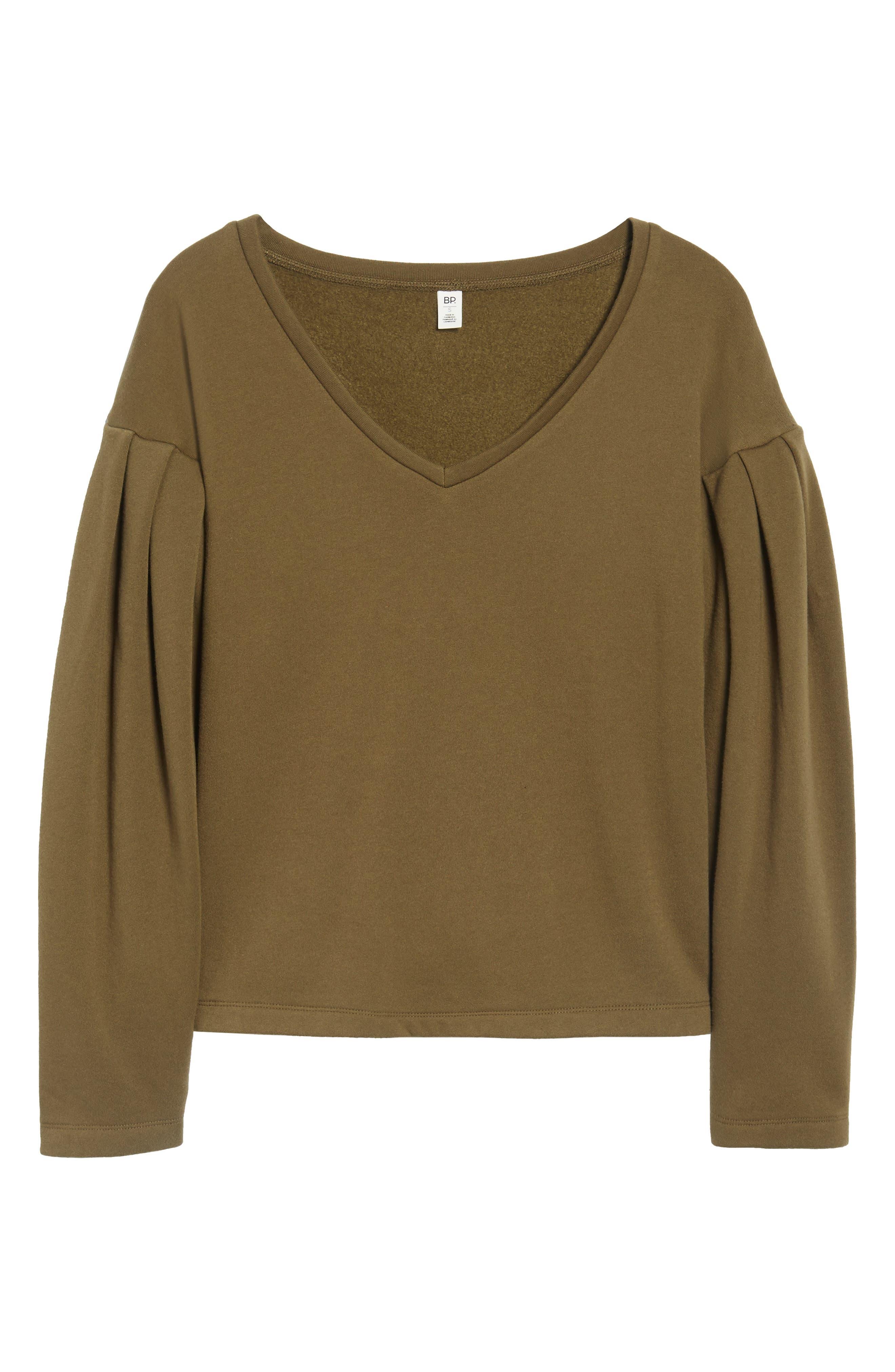 Pleat Sleeve Sweater,                             Alternate thumbnail 6, color,                             311