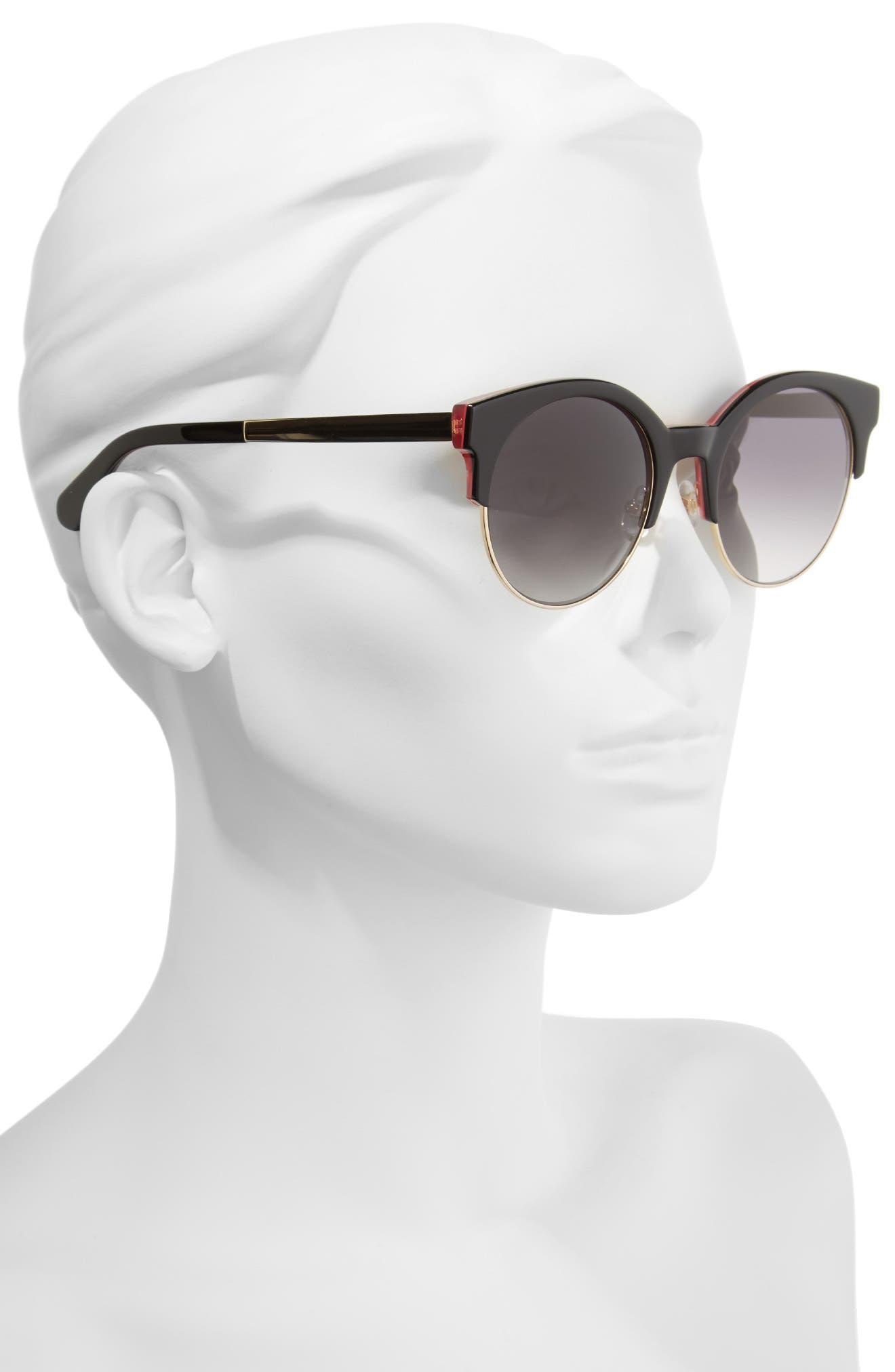 kaileen 52mm semi-rimless cat eye sunglasses,                             Alternate thumbnail 2, color,                             001