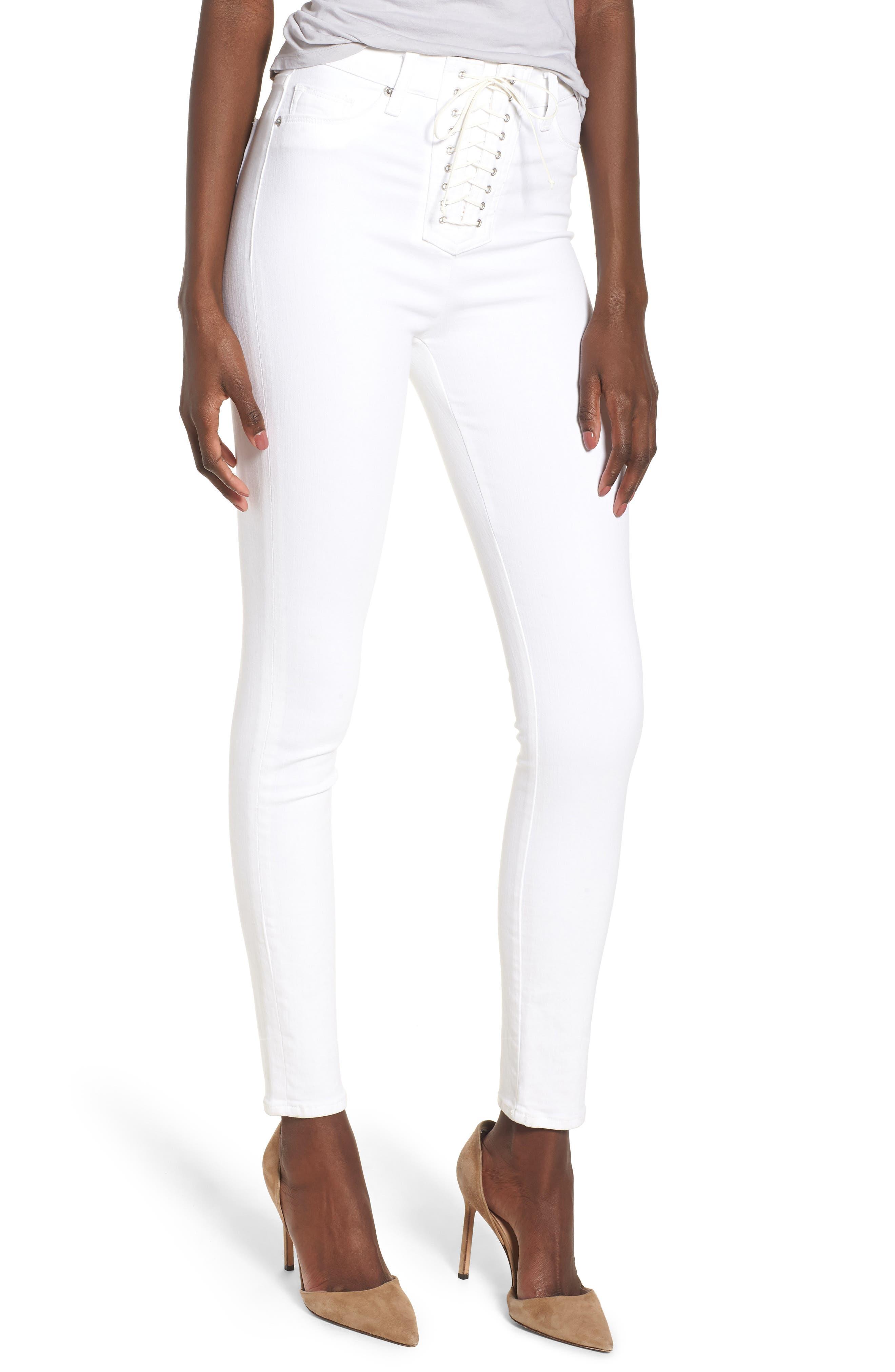 HUDSON JEANS,                             Bullocks Lace-Up High Waist Super Skinny Jeans,                             Main thumbnail 1, color,                             110
