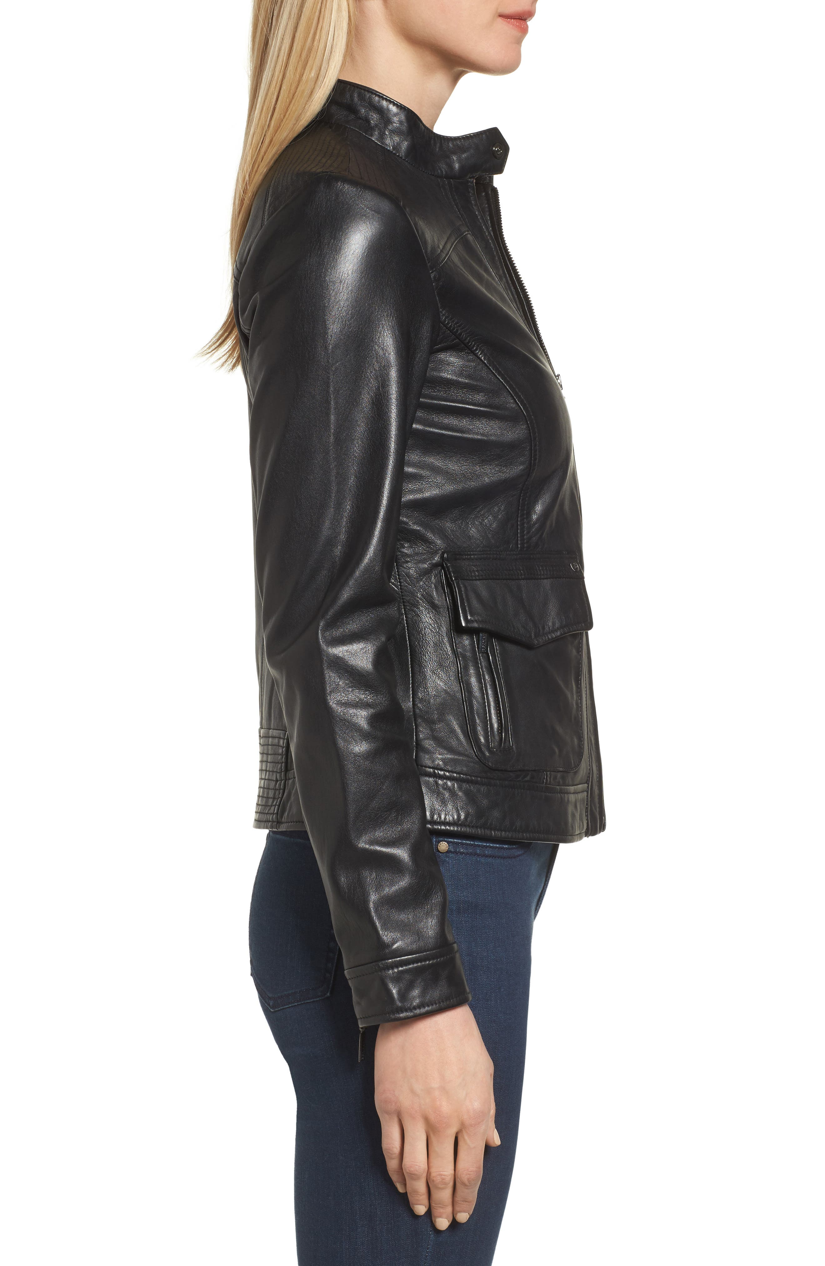 Kerwin Pocket Detail Leather Jacket,                             Alternate thumbnail 3, color,                             001