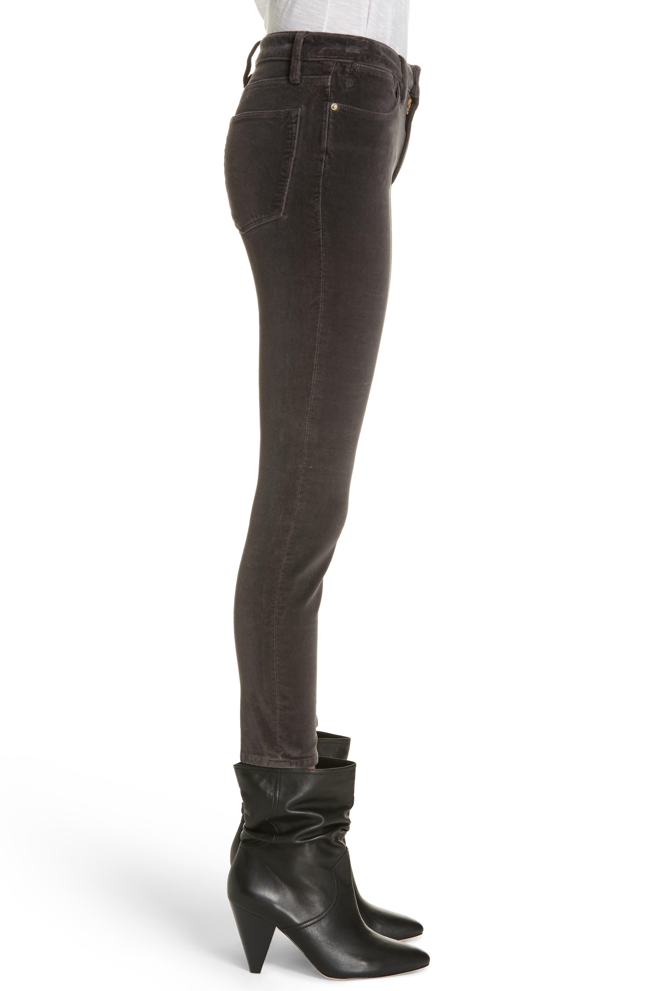Velveteen High Waist Skinny Pants,                             Alternate thumbnail 3, color,                             021