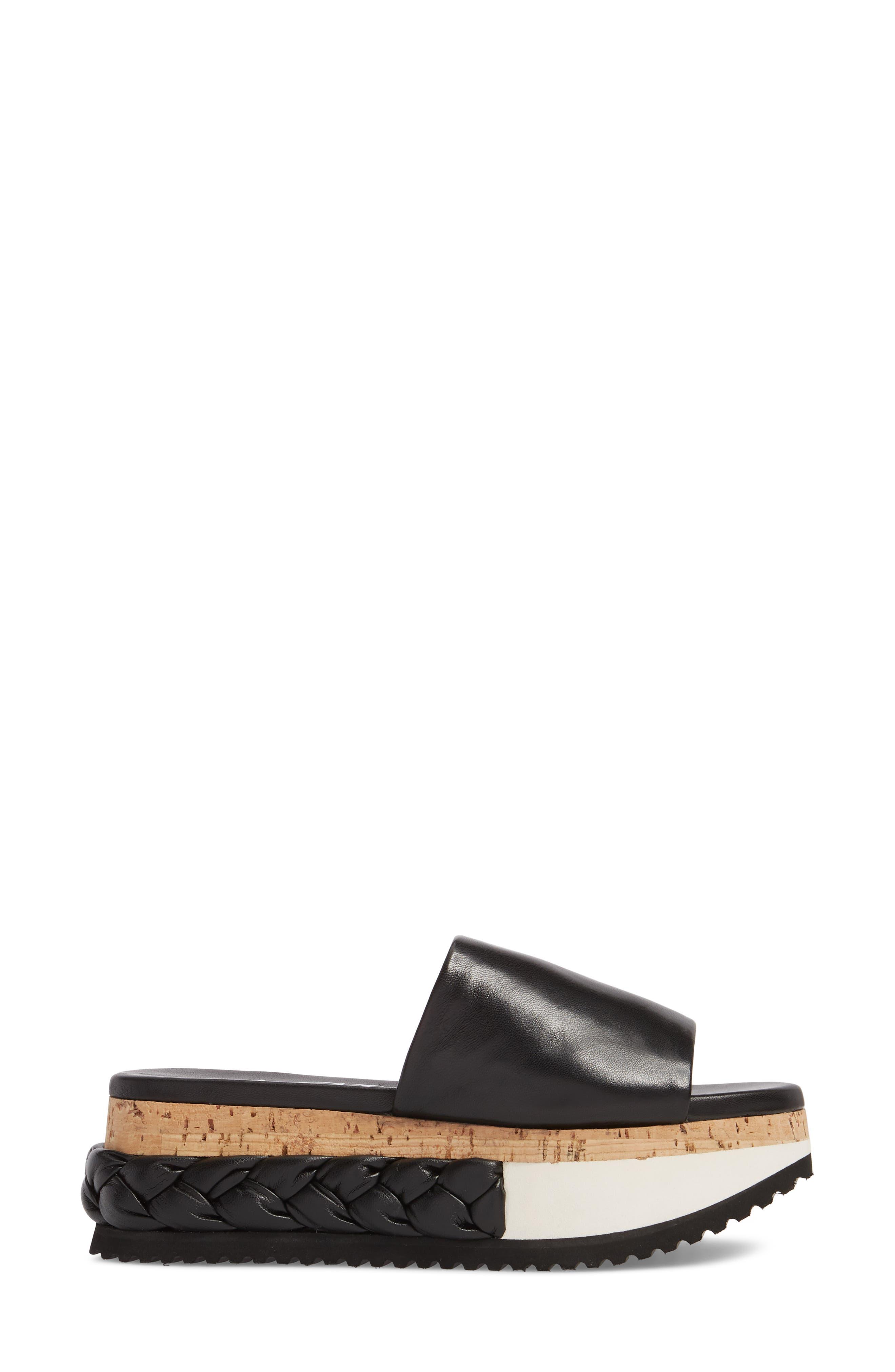 Braided Flatform Slide Sandal,                             Alternate thumbnail 3, color,                             001