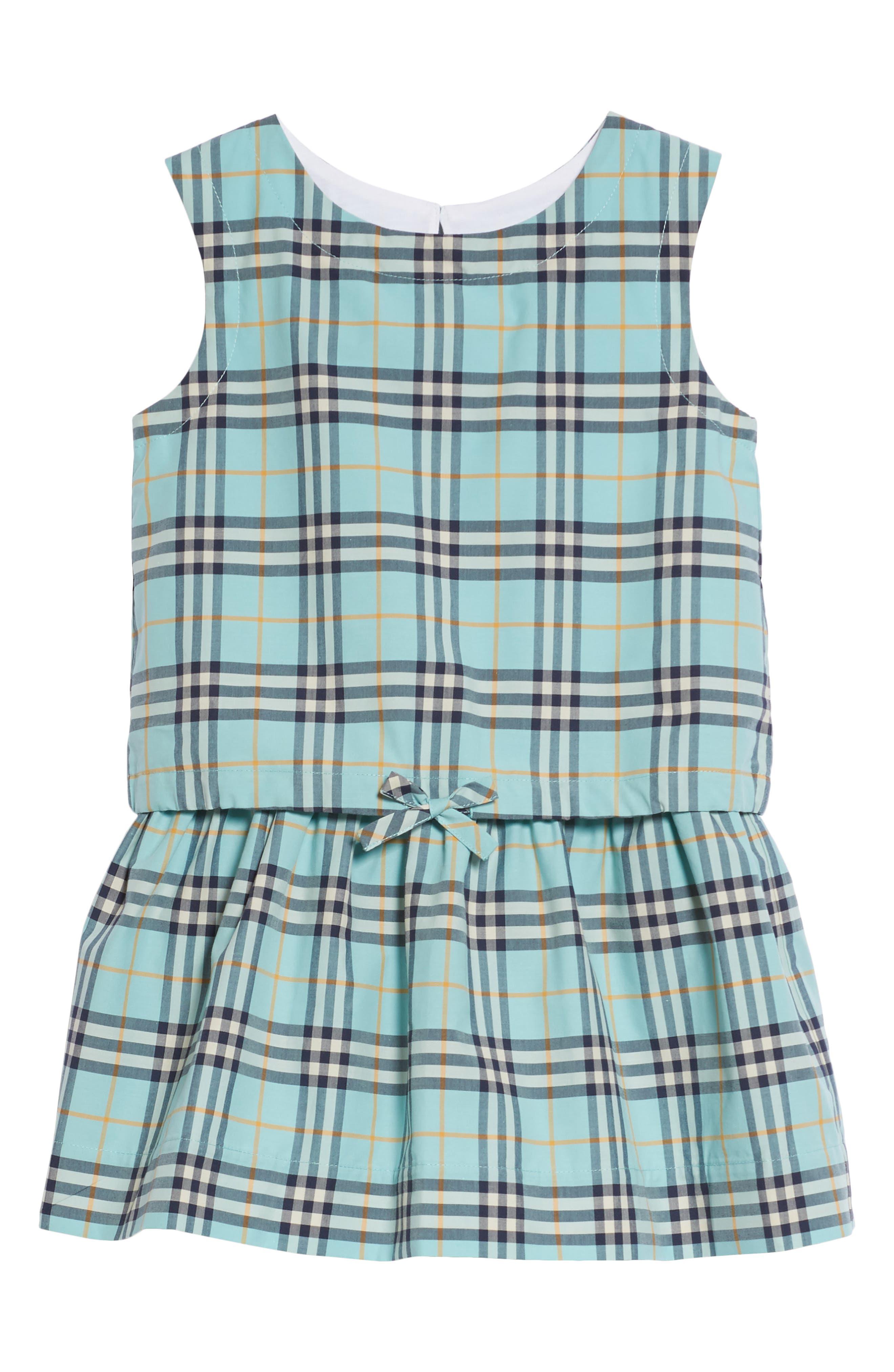 Mabel Check Dress,                             Main thumbnail 1, color,                             BRIGHT AQUA