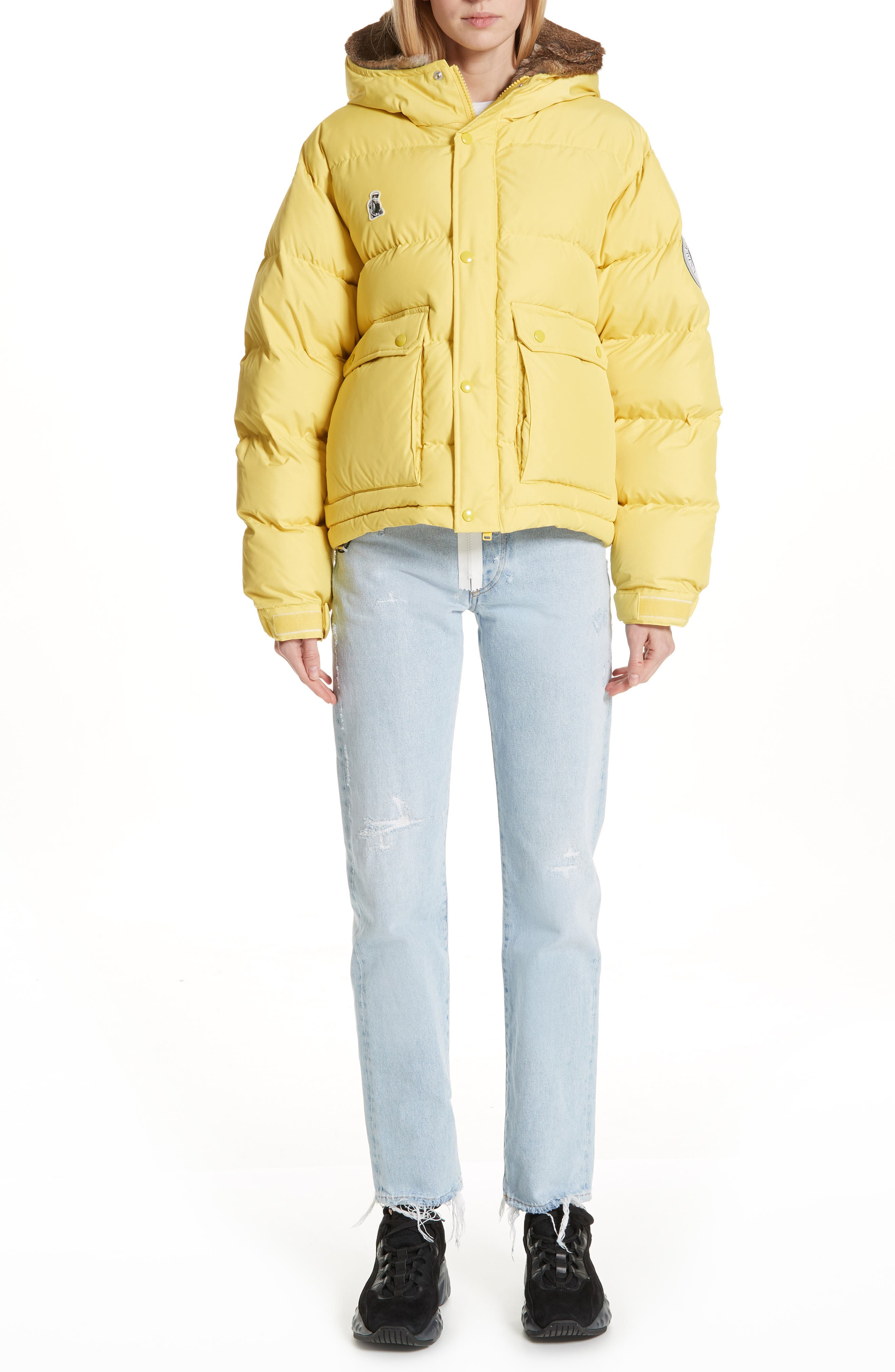 UNDERCOVER,                             Hooded Puffer Coat With Genuine Rabbit Fur Trim,                             Alternate thumbnail 7, color,                             700