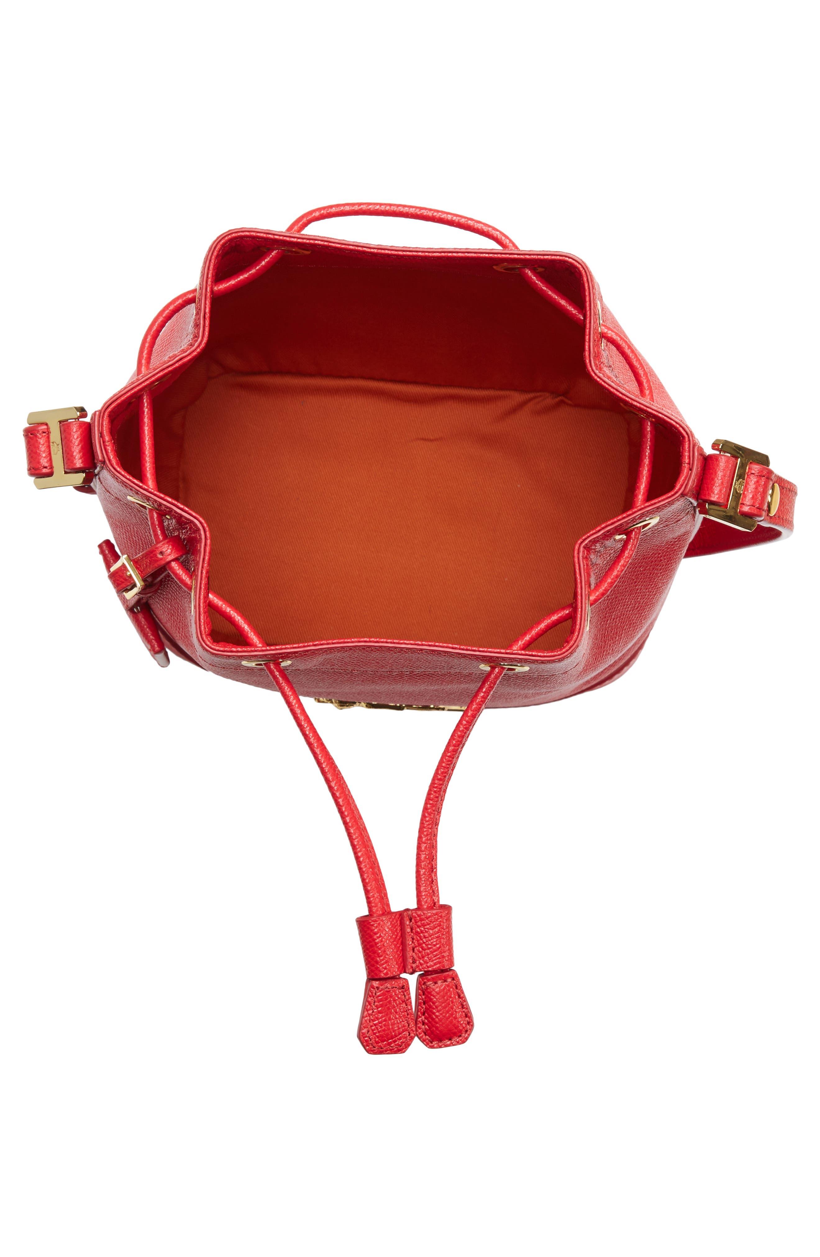 Mini RGB Drawstring Crossbody Bag,                             Alternate thumbnail 4, color,                             RED