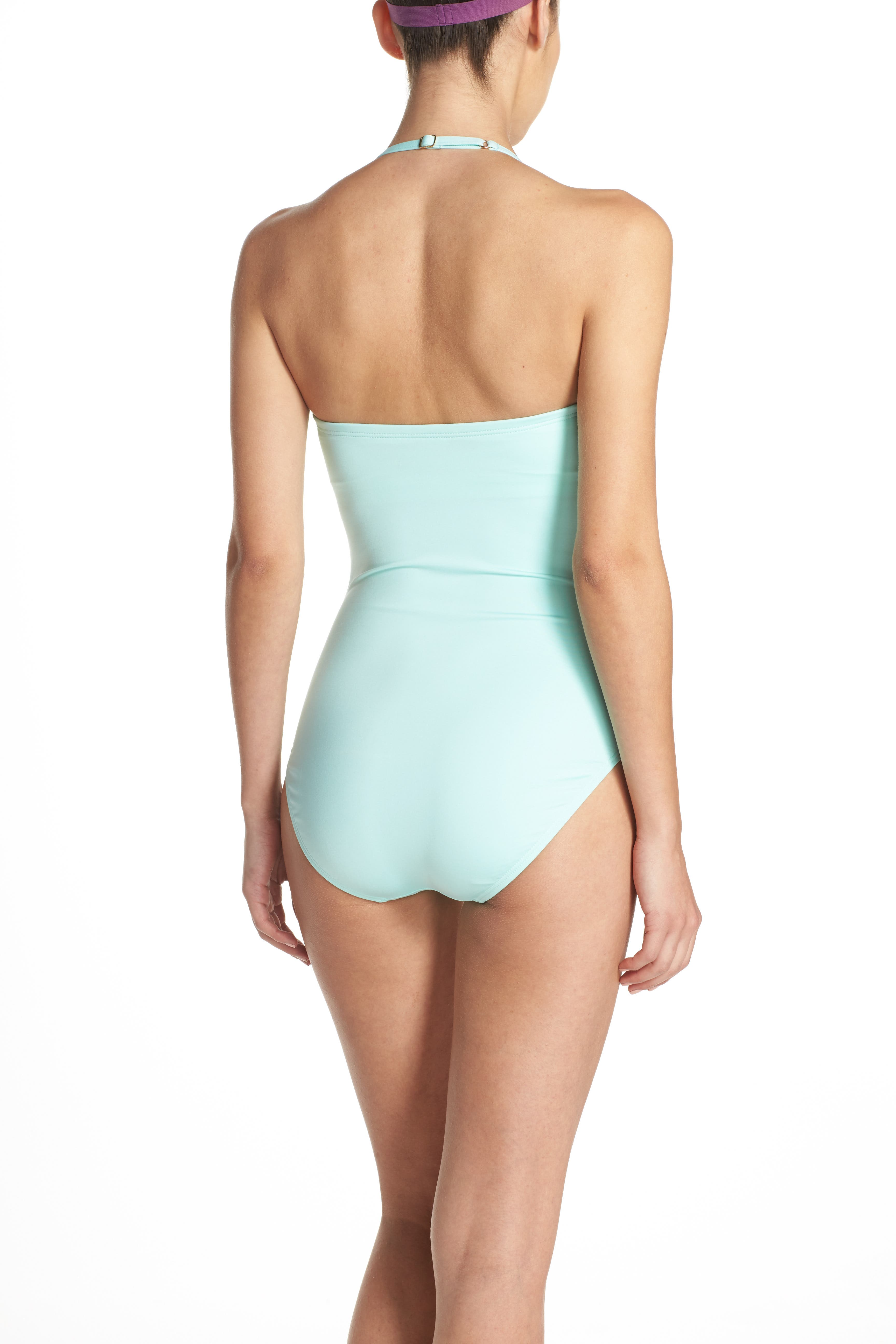 bow neck one-piece swimsuit,                             Alternate thumbnail 2, color,
