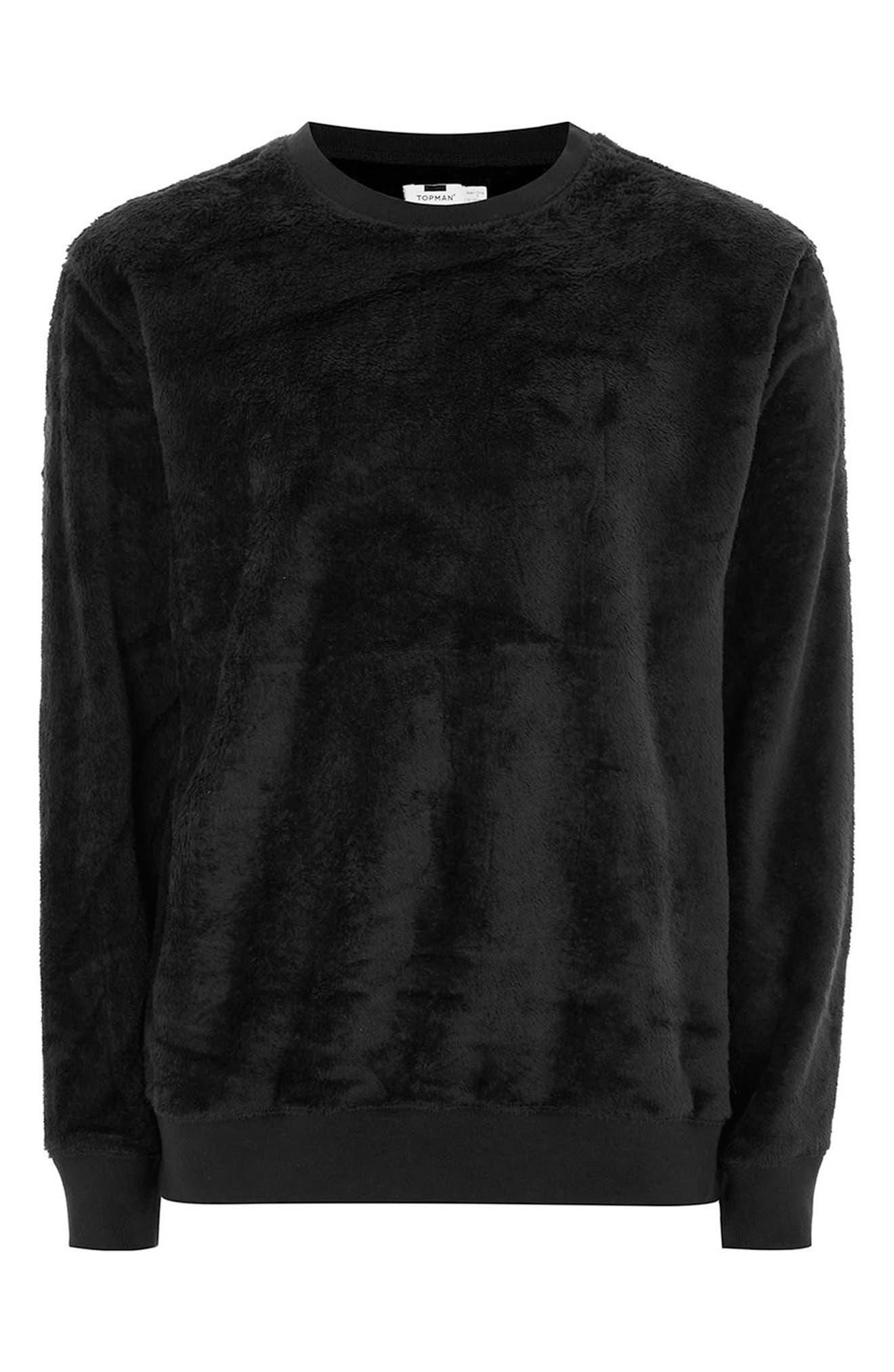 Faux Fur Crewneck Sweatshirt,                             Alternate thumbnail 4, color,                             001