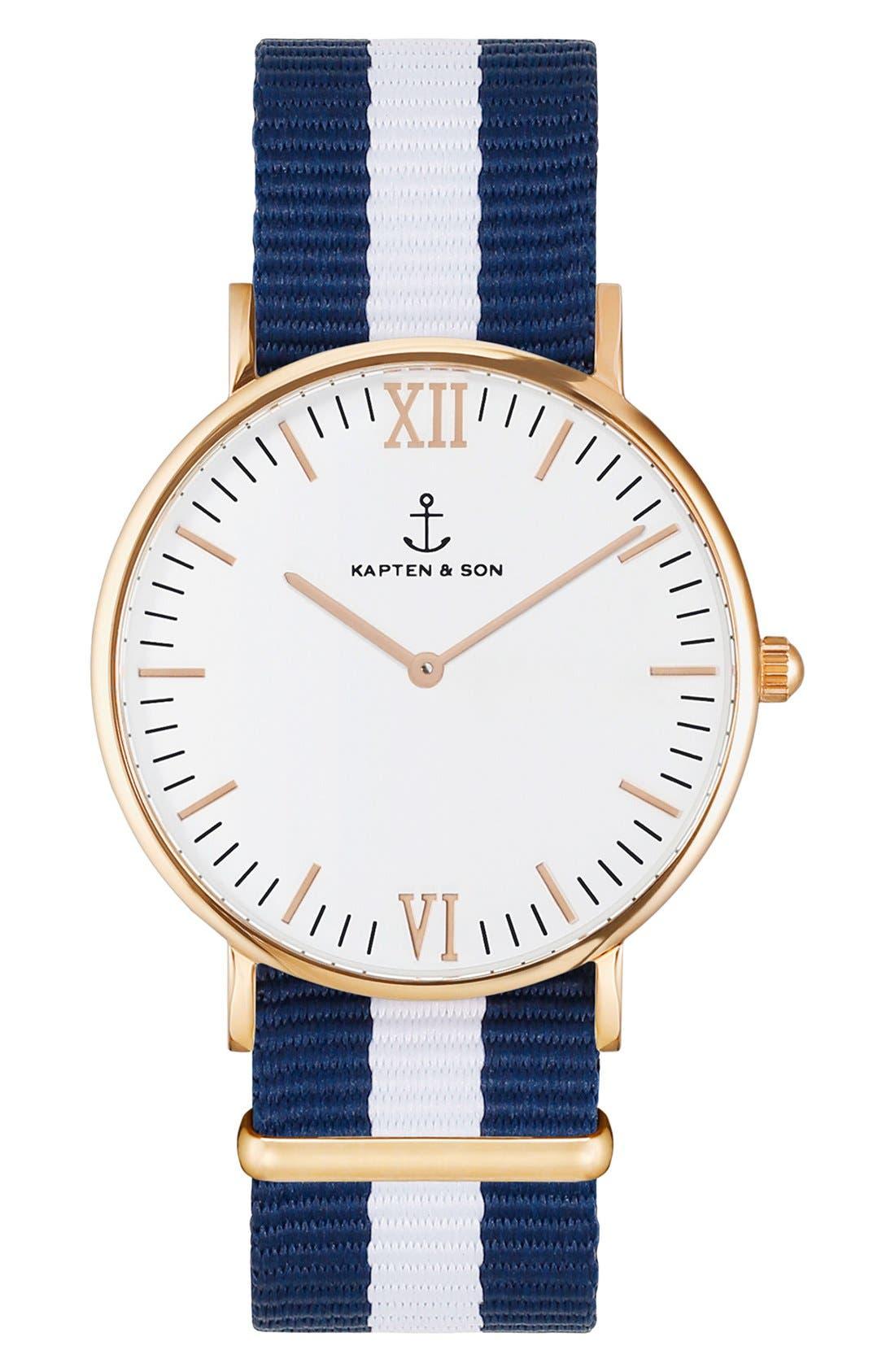 KAPTEN & SON Campina Nylon Strap Watch, 36mm, Main, color, 400