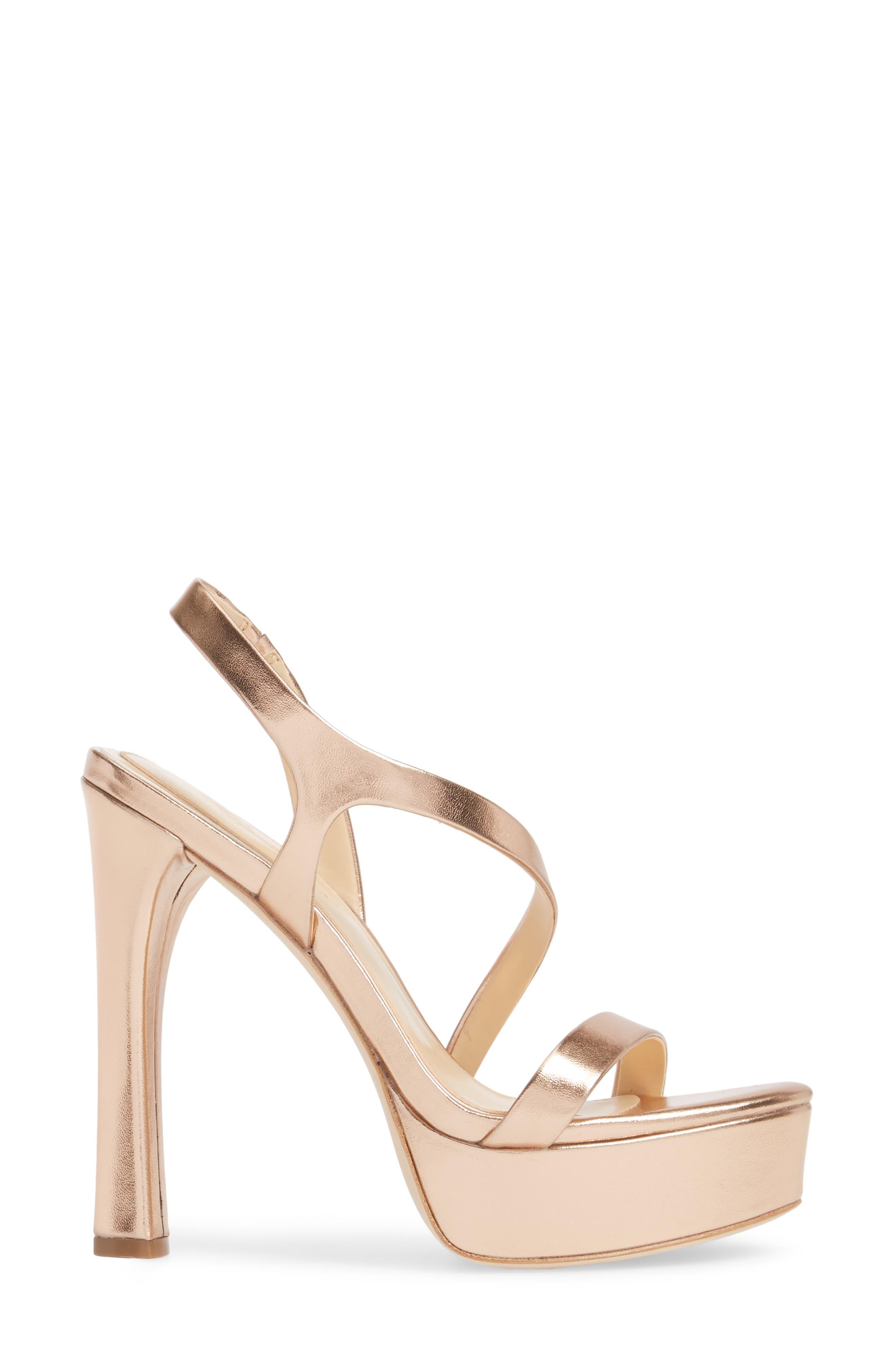 Piera Platform Sandal,                             Alternate thumbnail 3, color,                             ROSE GOLD LEATHER