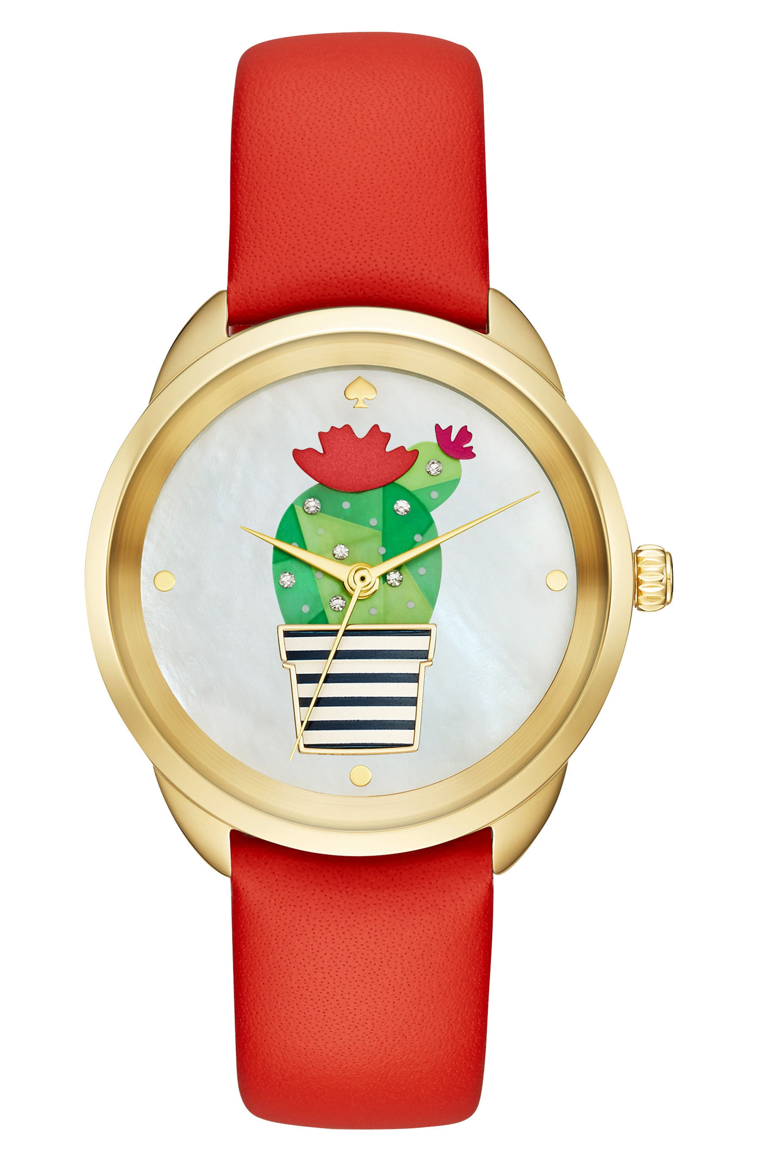 KATE SPADE NEW YORK kate spade cactus crosstown leather strap watch, 34mm, Main, color, 600