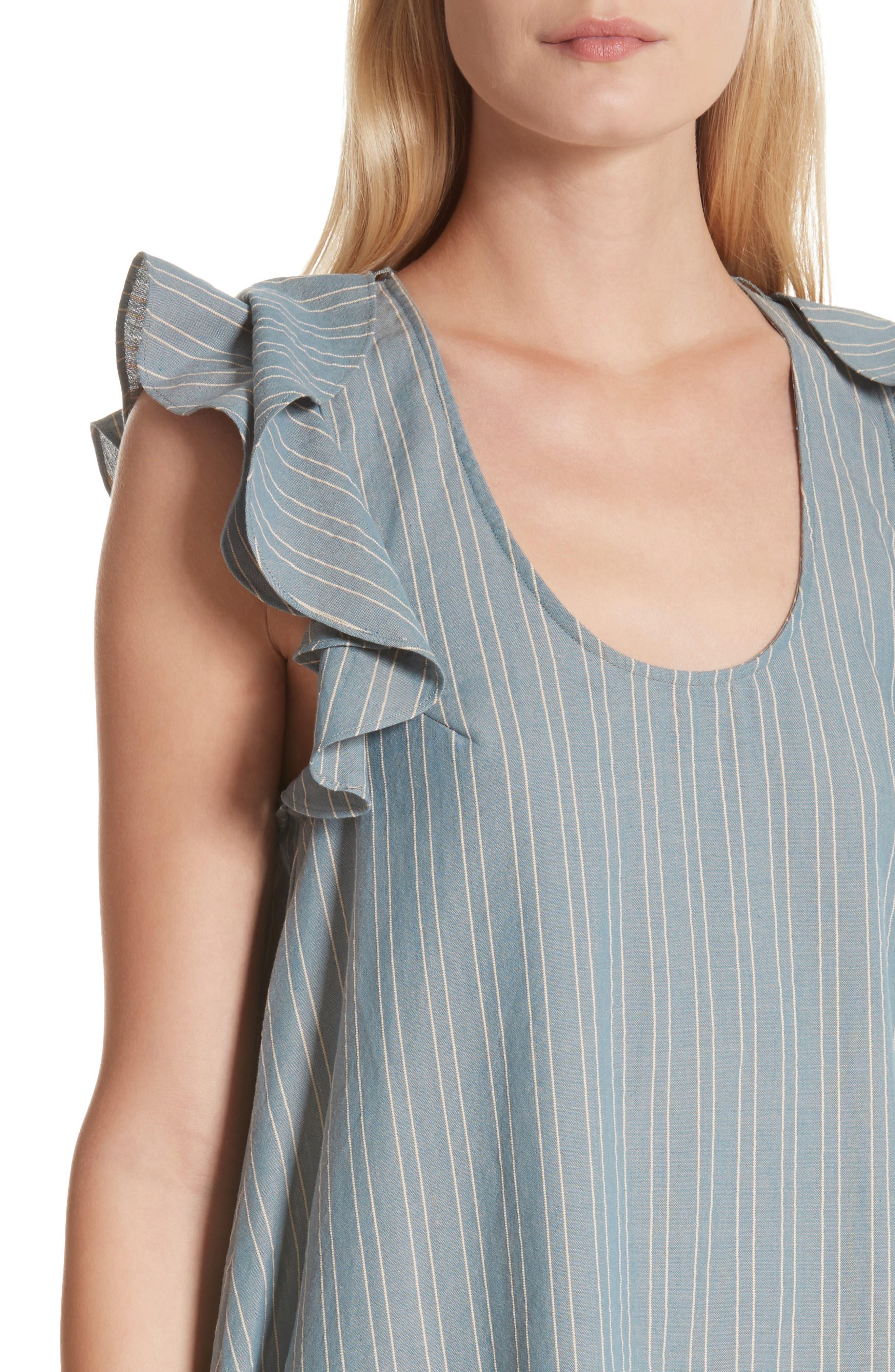 The Petal Stripe Chambray Dress,                             Alternate thumbnail 4, color,                             401
