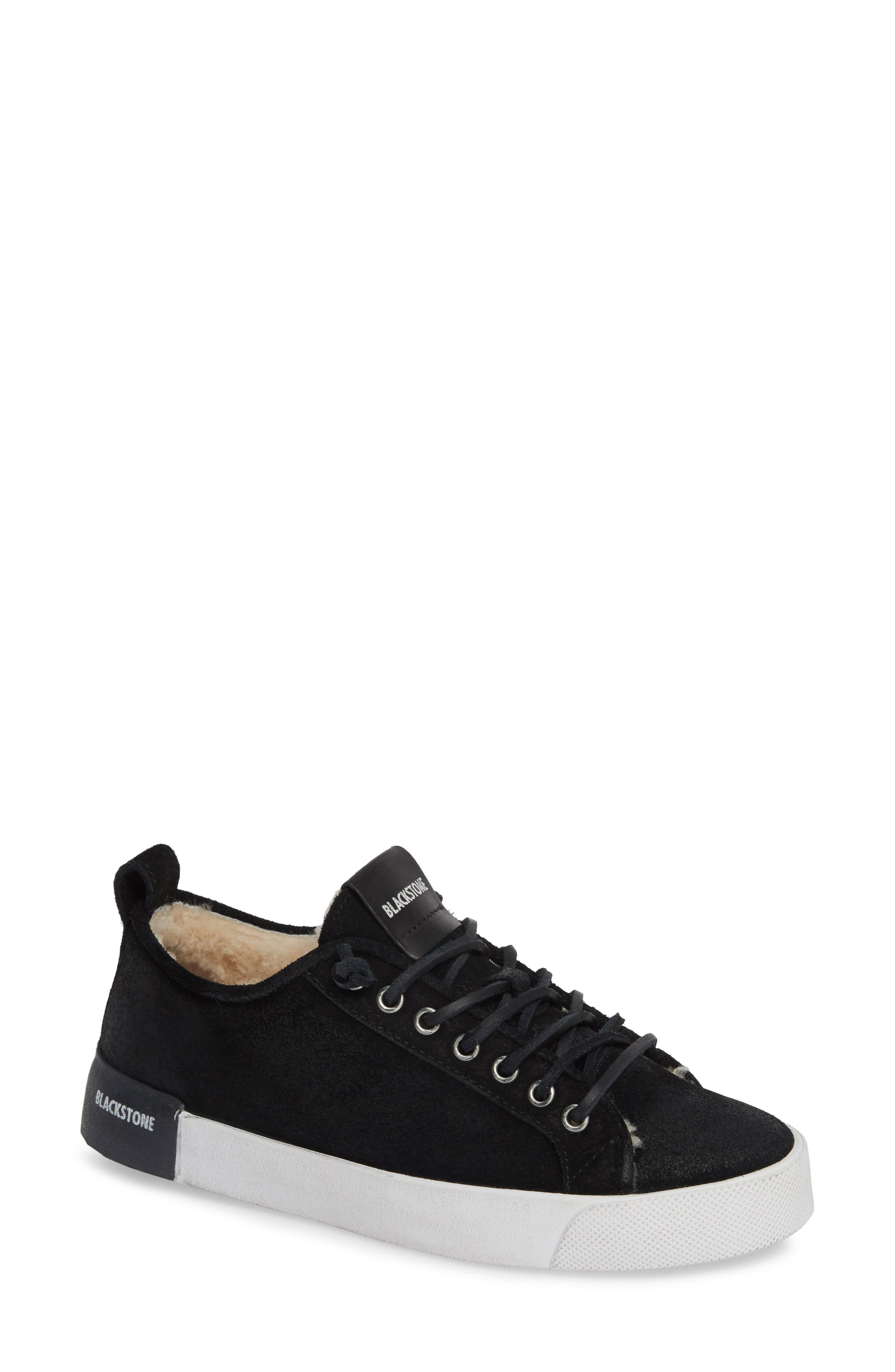 QL60 Genuine Shearling Lined Sneaker,                             Main thumbnail 1, color,                             BLACK LEATHER