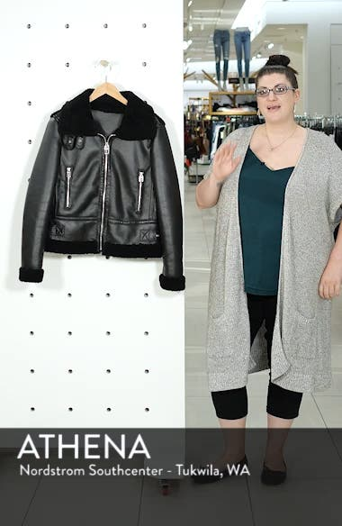 Faux Leather Moto Jacket with Faux Shearling Trim, sales video thumbnail