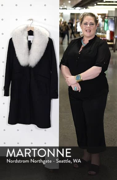 Wool Blend Reefer Coat with Genuine Fox Fur Trim, sales video thumbnail