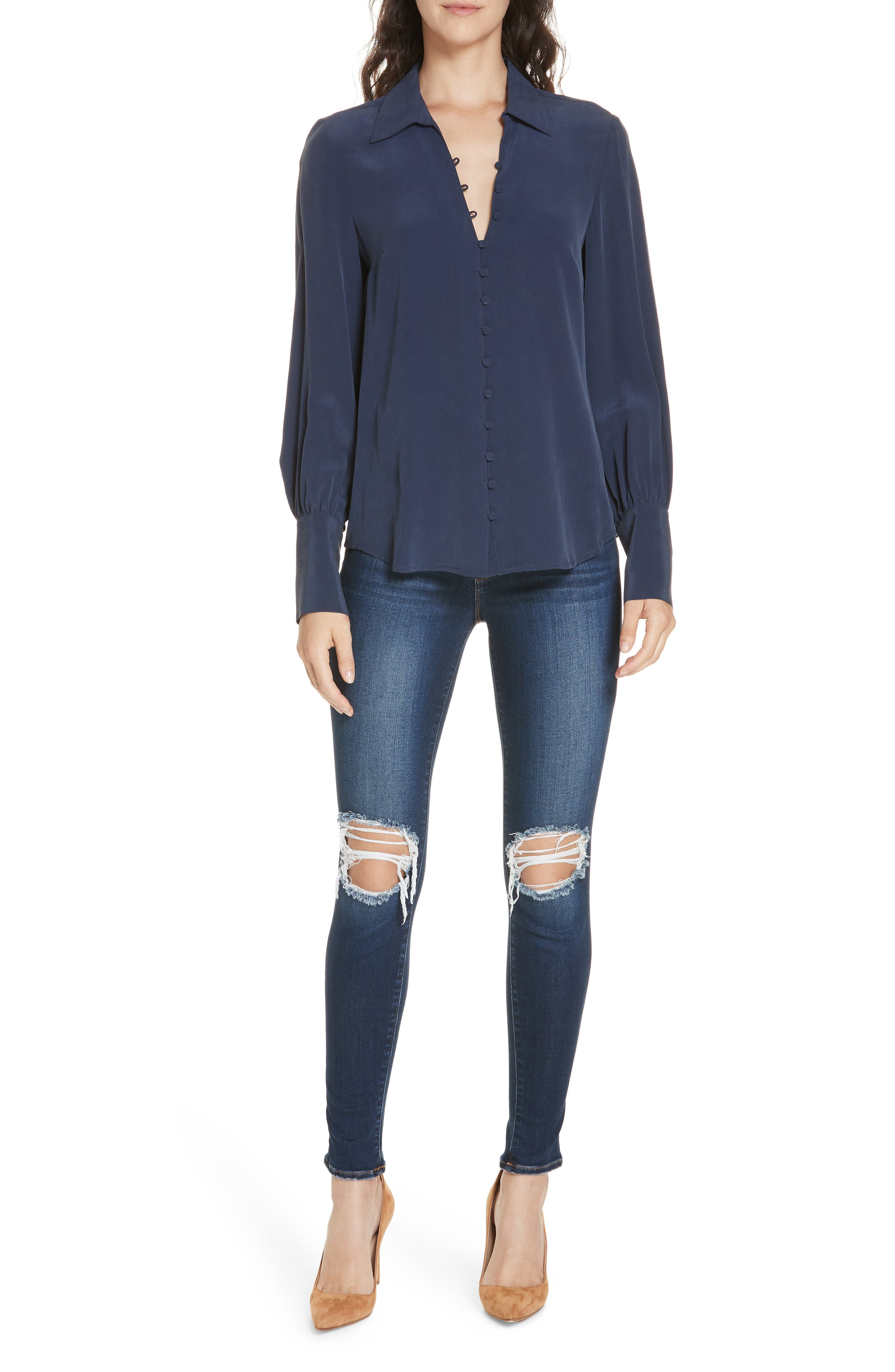 Margot Ripped Skinny Jeans,                             Alternate thumbnail 7, color,                             BALTIC DESTRUCT