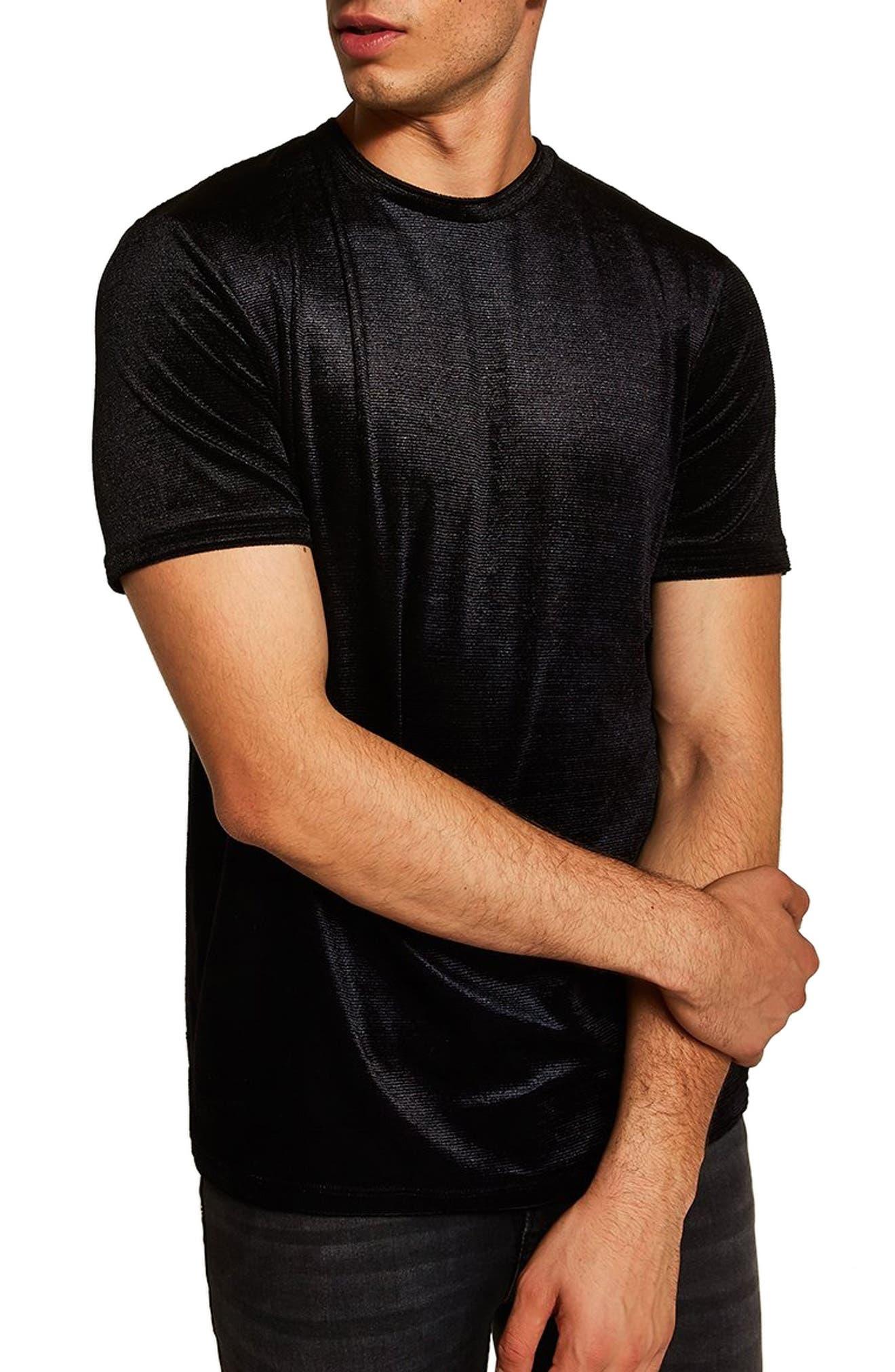 Topshop Velour Classic Fit T-Shirt,                             Main thumbnail 1, color,                             BLACK